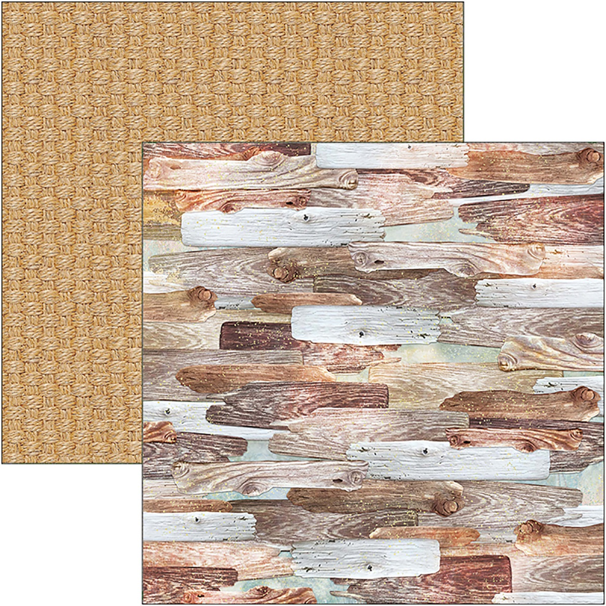 Ciao Bella Double-Sided Cardstock 90lb 12X12-River Wood & Seagrass, Delta