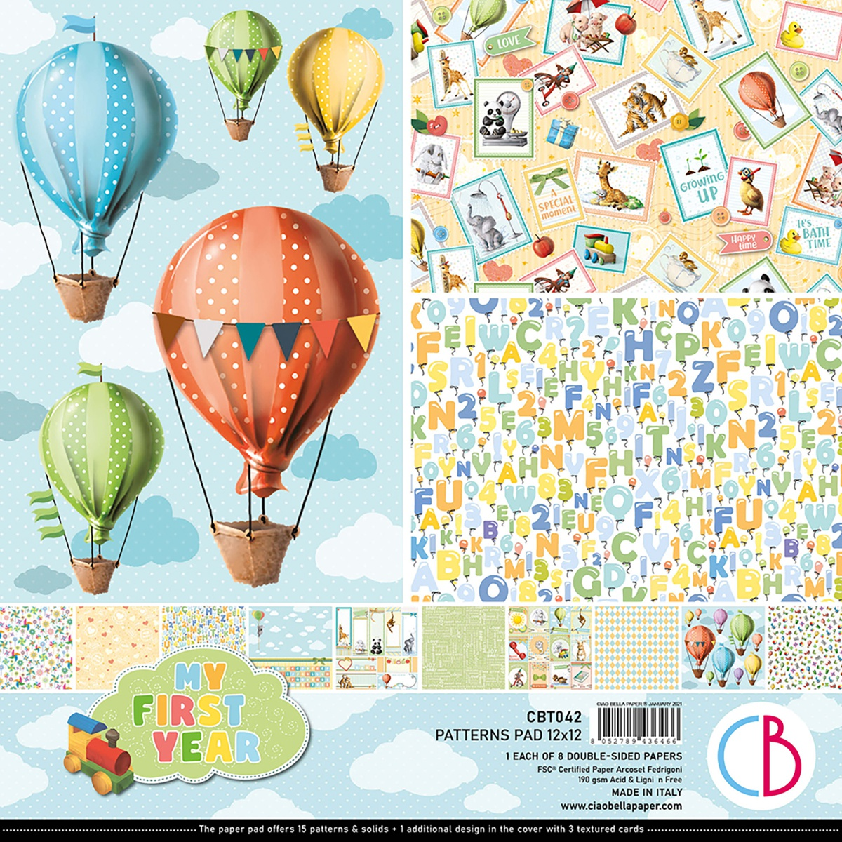 Ciao Bella Double-Sided Paper Pack 90lb 12X12 8/Pkg-My First Year, 8 Designs/1 Each