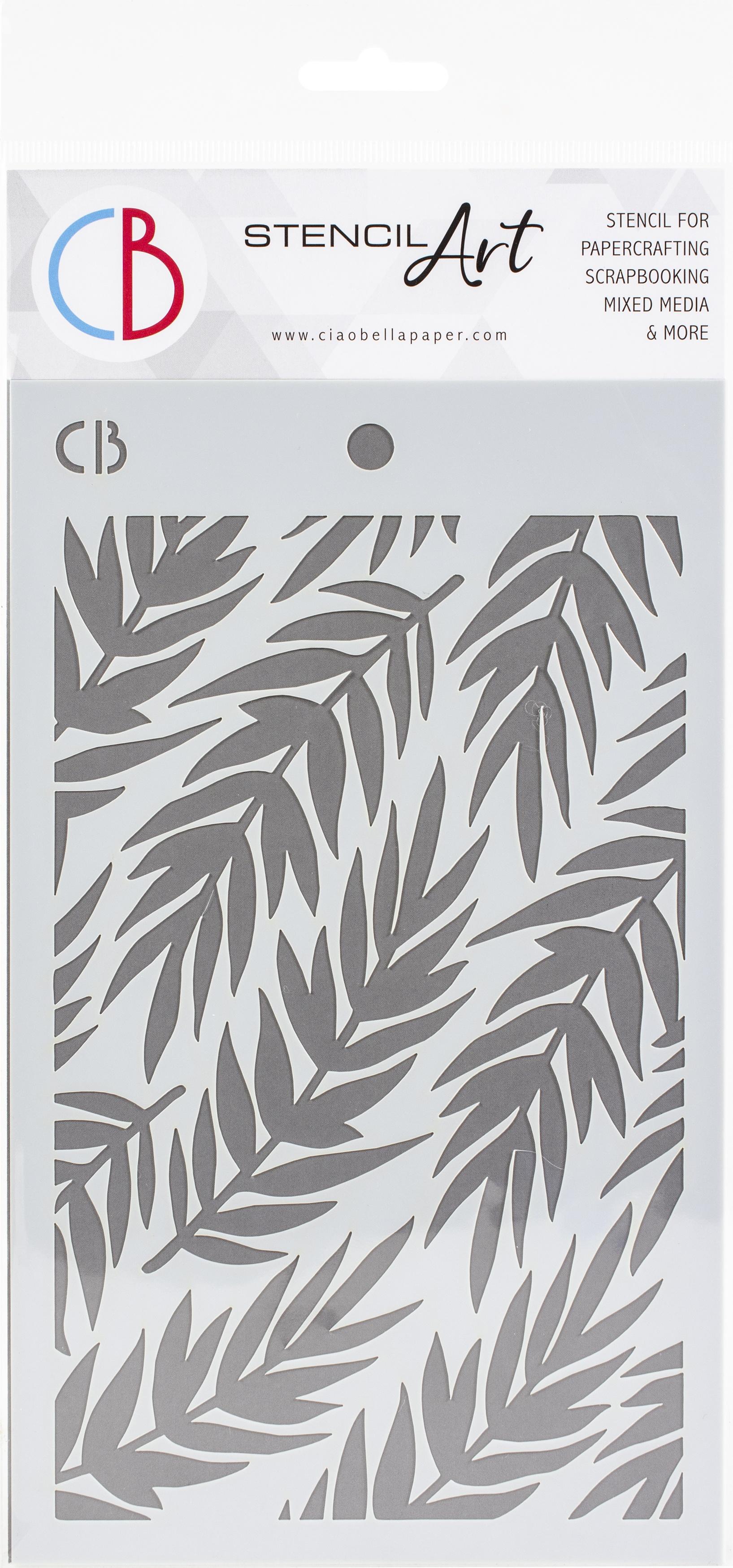 Ciao Bella Stencil Art Texture Stencil - Fern, 5x8