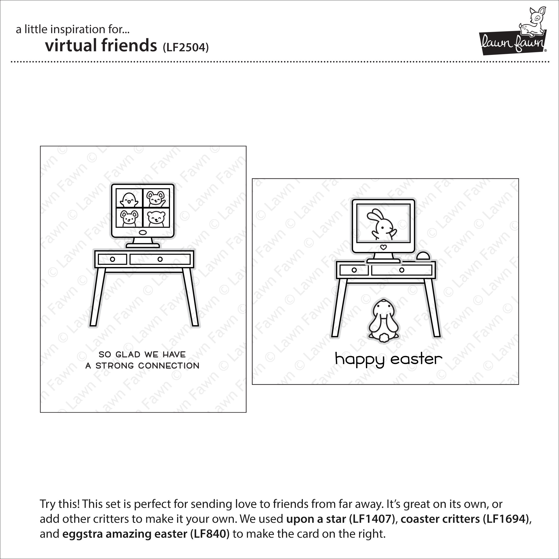Lawn Fawn Clear Stamps 4X6-Virtual Friends