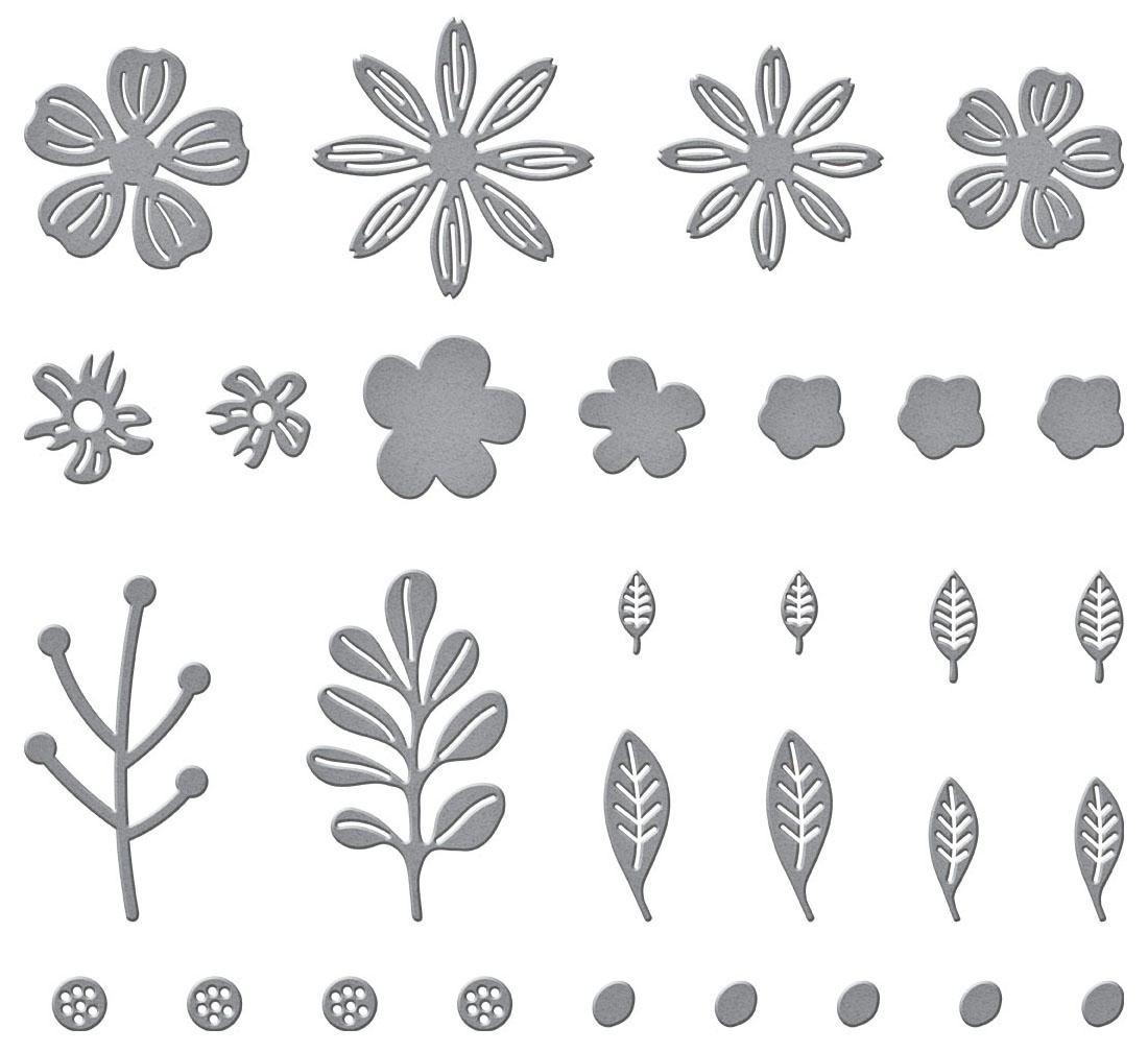 Spellbinders Etched Dies-Mini Blooms And Sprigs