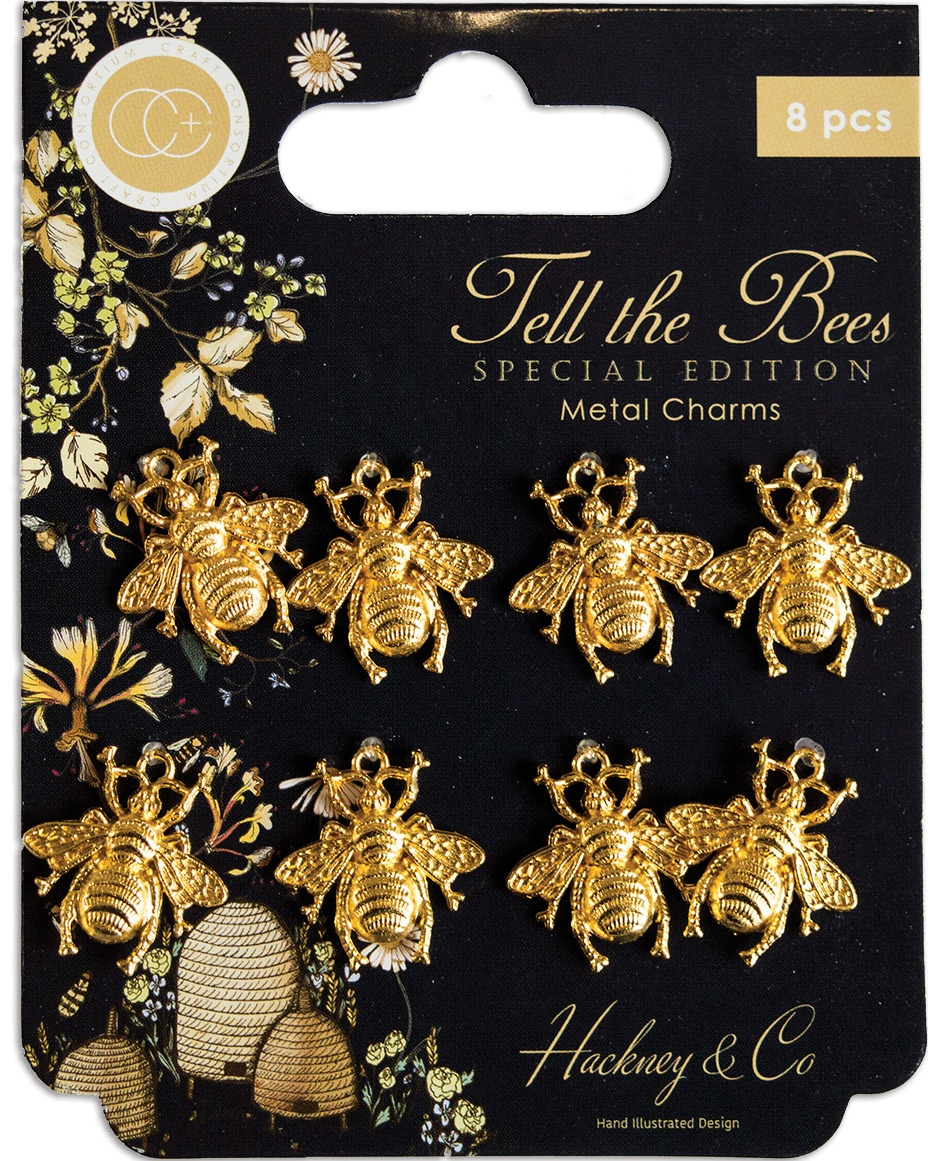 Craft Consortium Tell The Bees Metal Charms 8/Pkg-Gold Bees - Special Edition