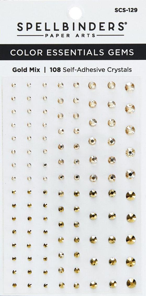 Spellbinders Color Essentials Gems 108/Pkg-Gold Mix