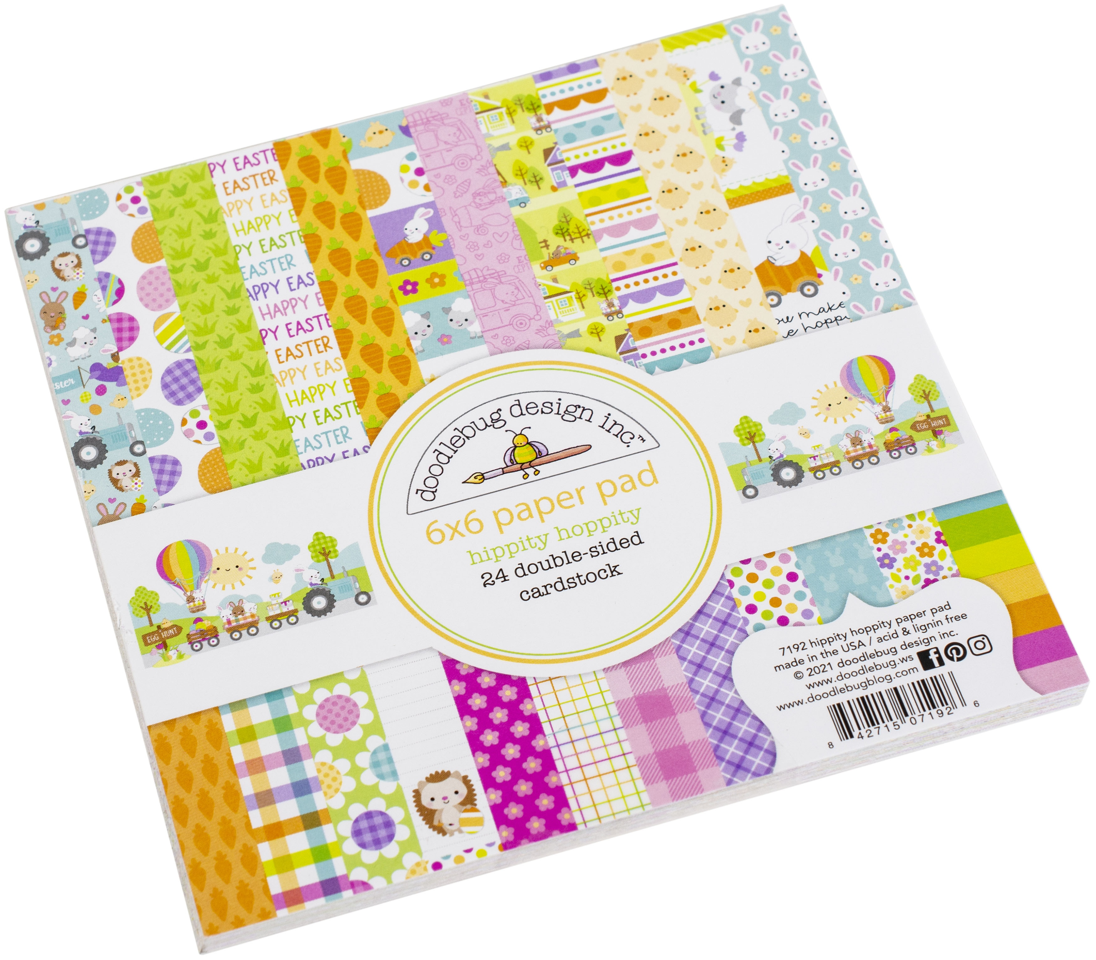 Doodlebug Double-Sided Paper Pad 6X6 24/Pkg-Hippity Hoppity, 12 Designs/2 Each