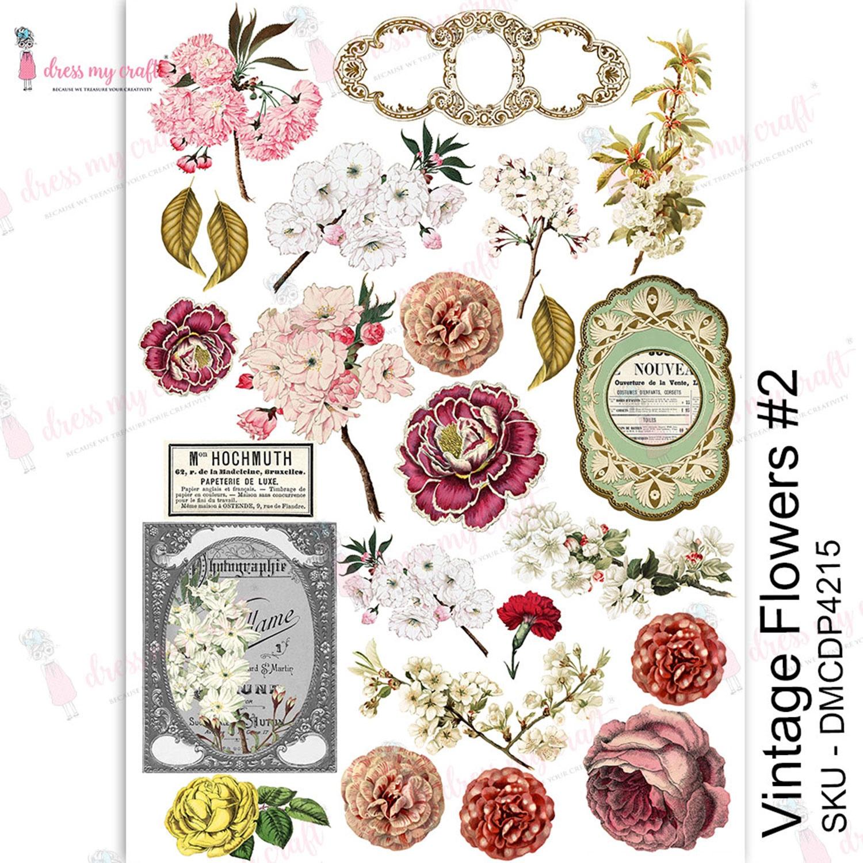 Dress My Craft Transfer Me Sheet A4-Vintage Flowers #2