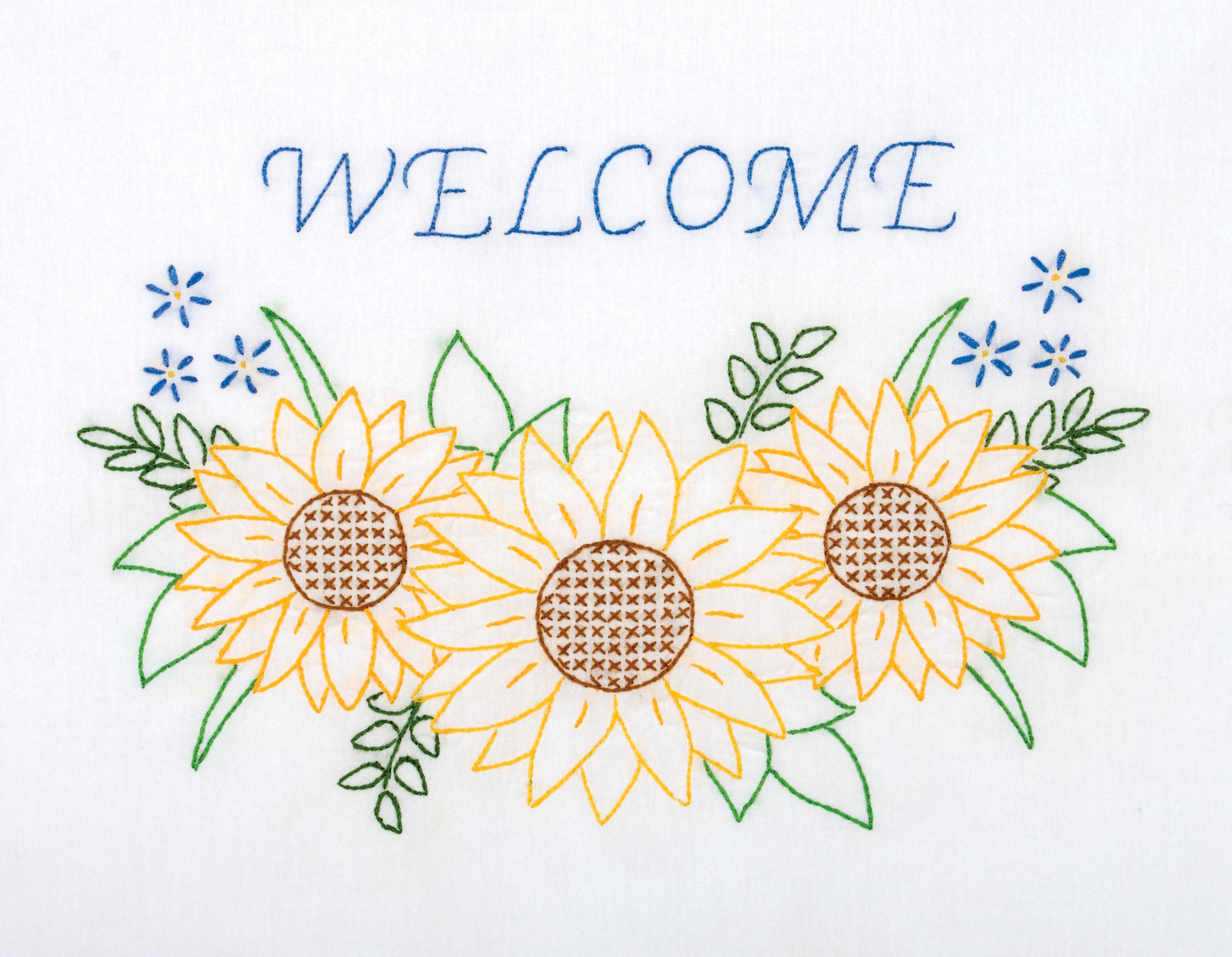 Pre-Stamped White Sampler 11in x 14in - Welcome Sunflowers