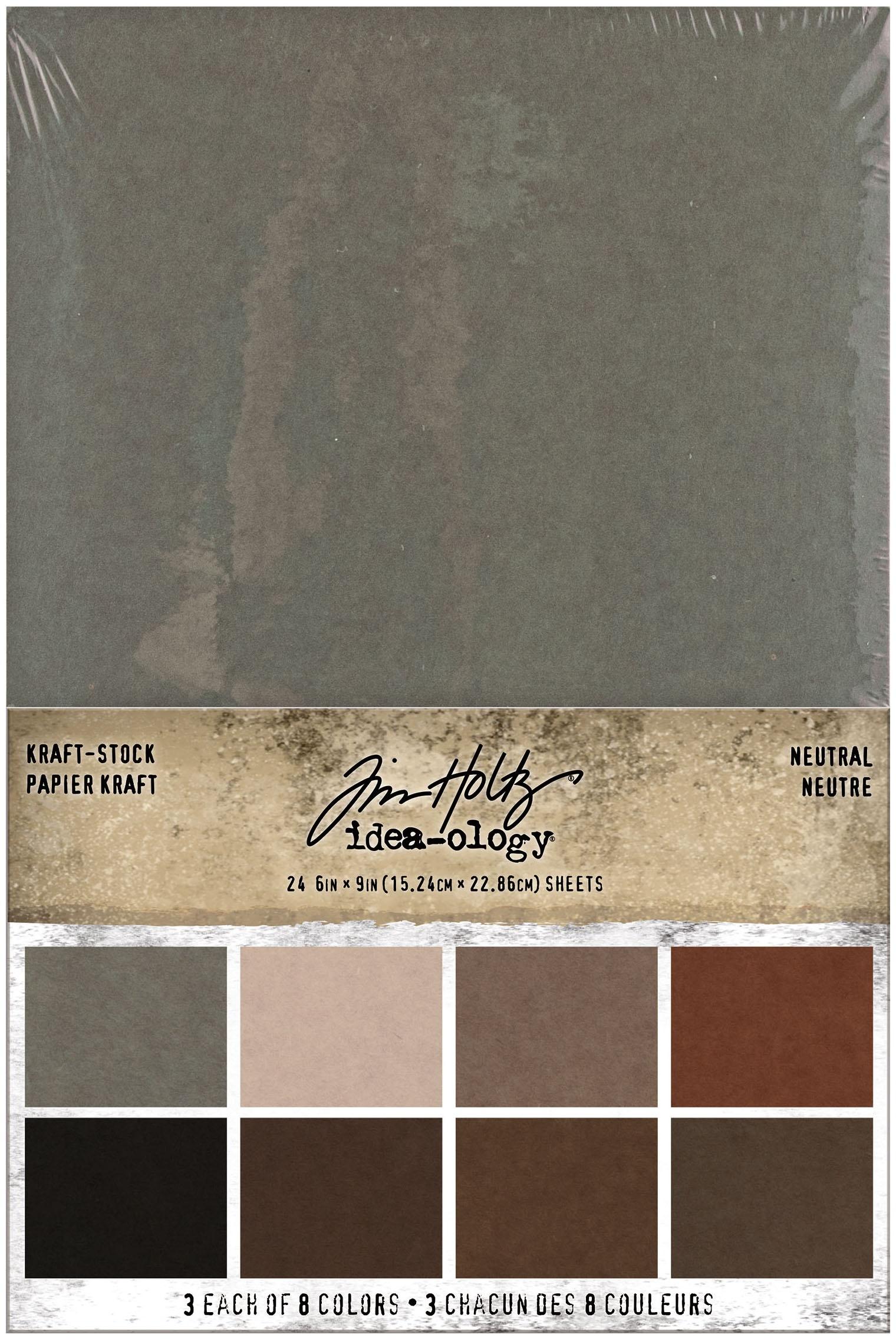 Idea-Ology Kraft-Stock Stack Cardstock Pad 6X9 24/Pkg-Neutral, 8 Colors/3 Each