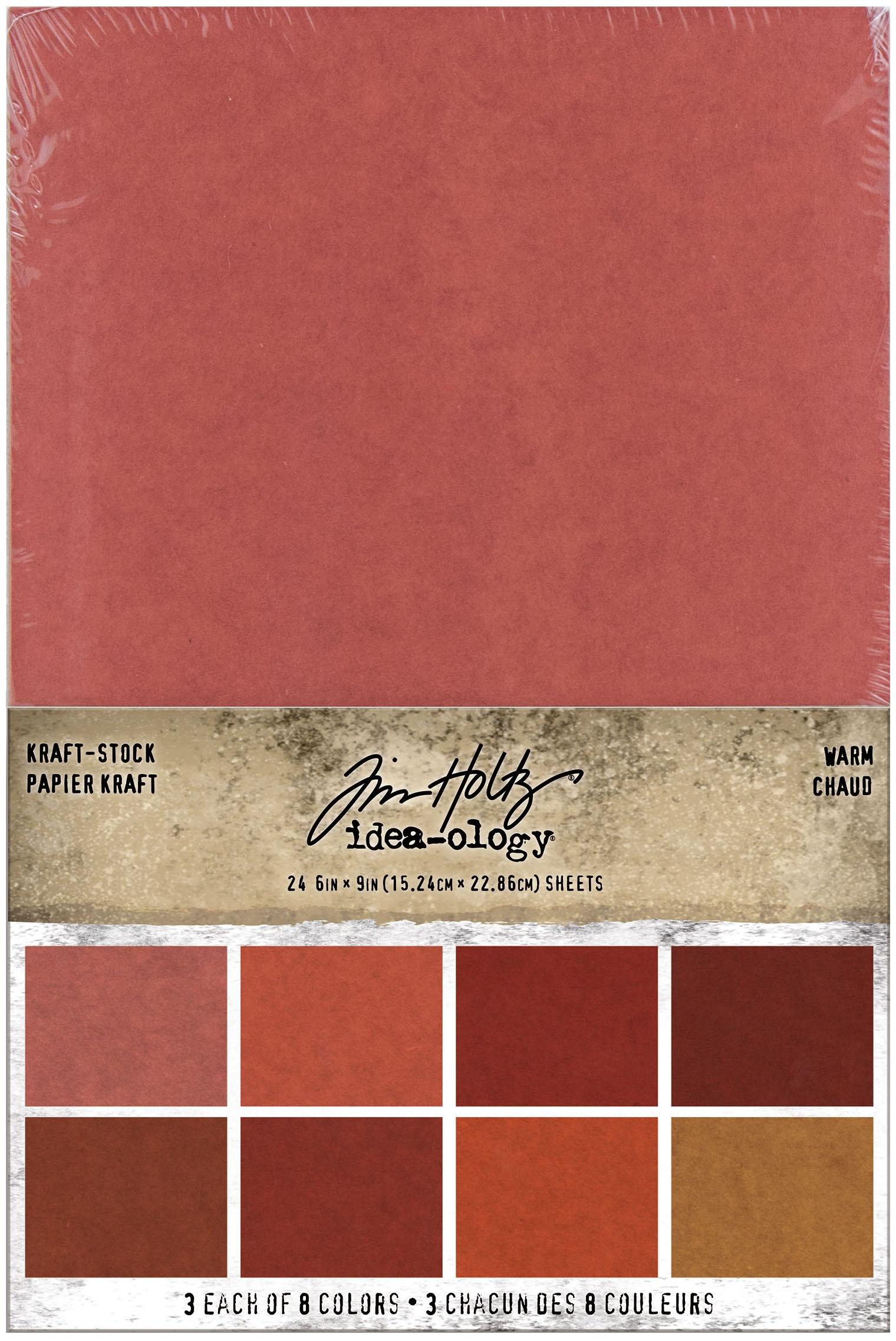 Idea-Ology Kraft-Stock Stack Cardstock Pad 6X9 24/Pkg-Warm, 8 Colors/3 Each
