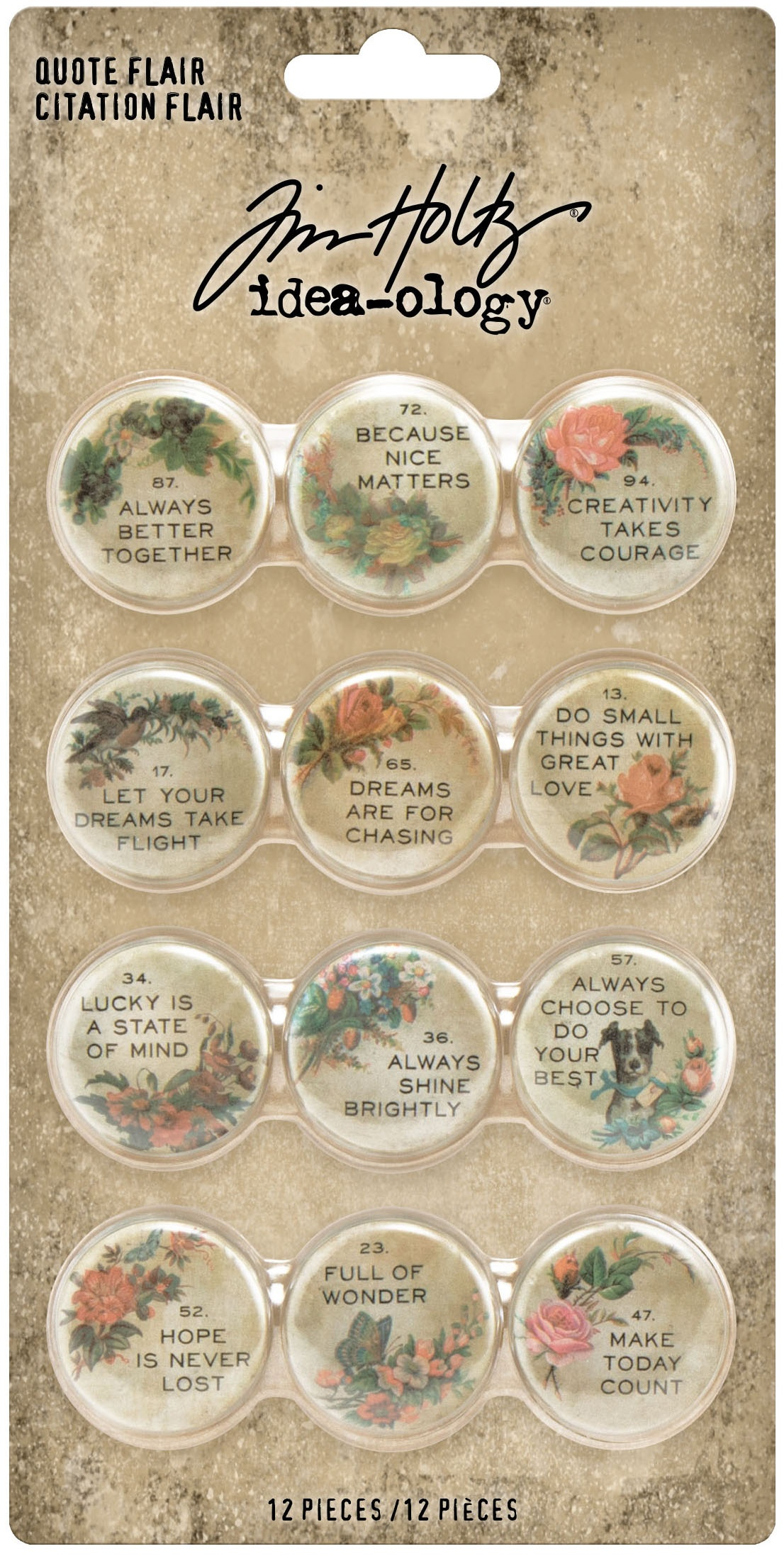 TH Idea-Ology Quote Flair Buttons 12/Pkg