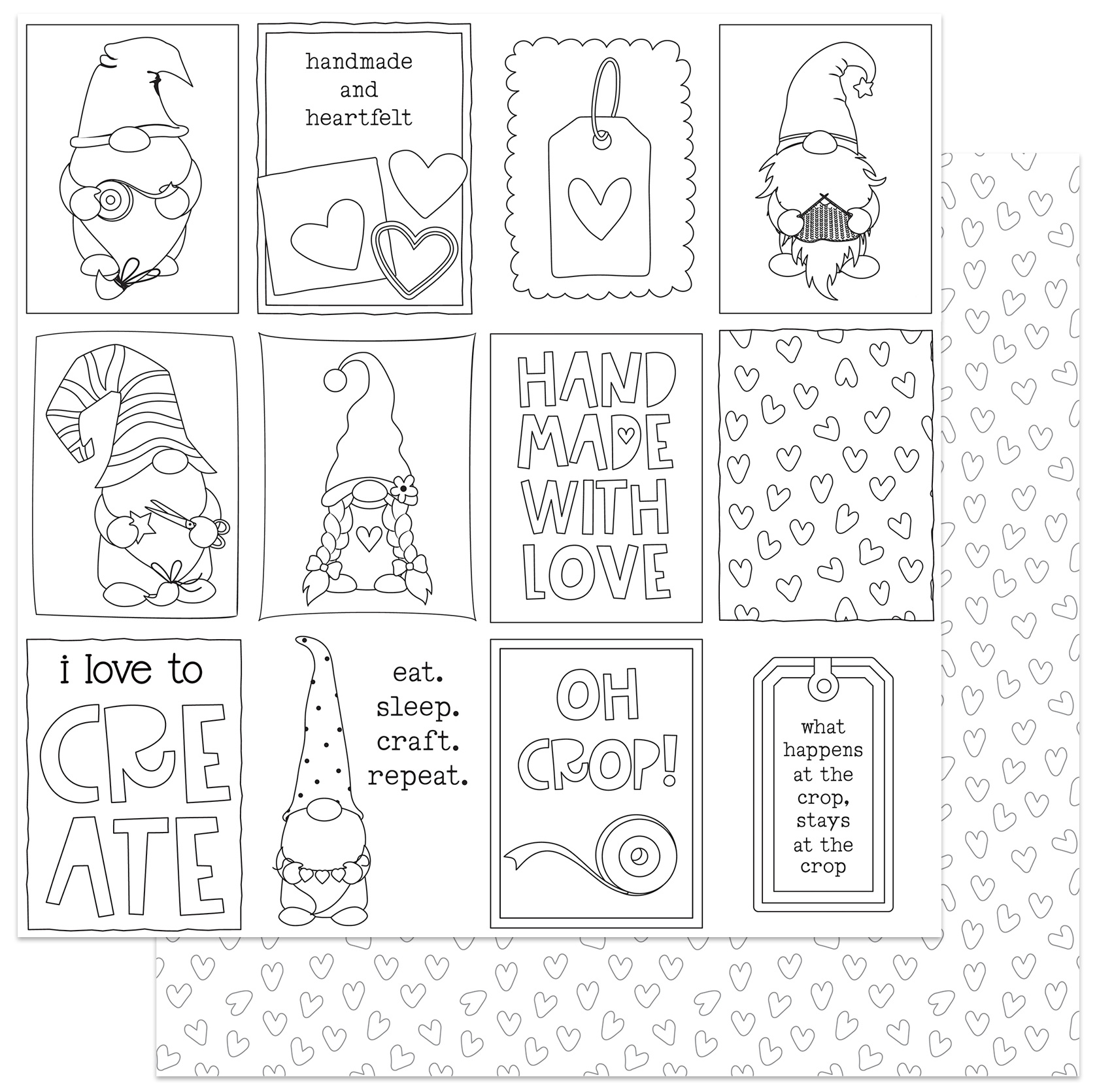 Crafting With My Gnomies Double-Sided Cardstock 12X12-Color Me Cards