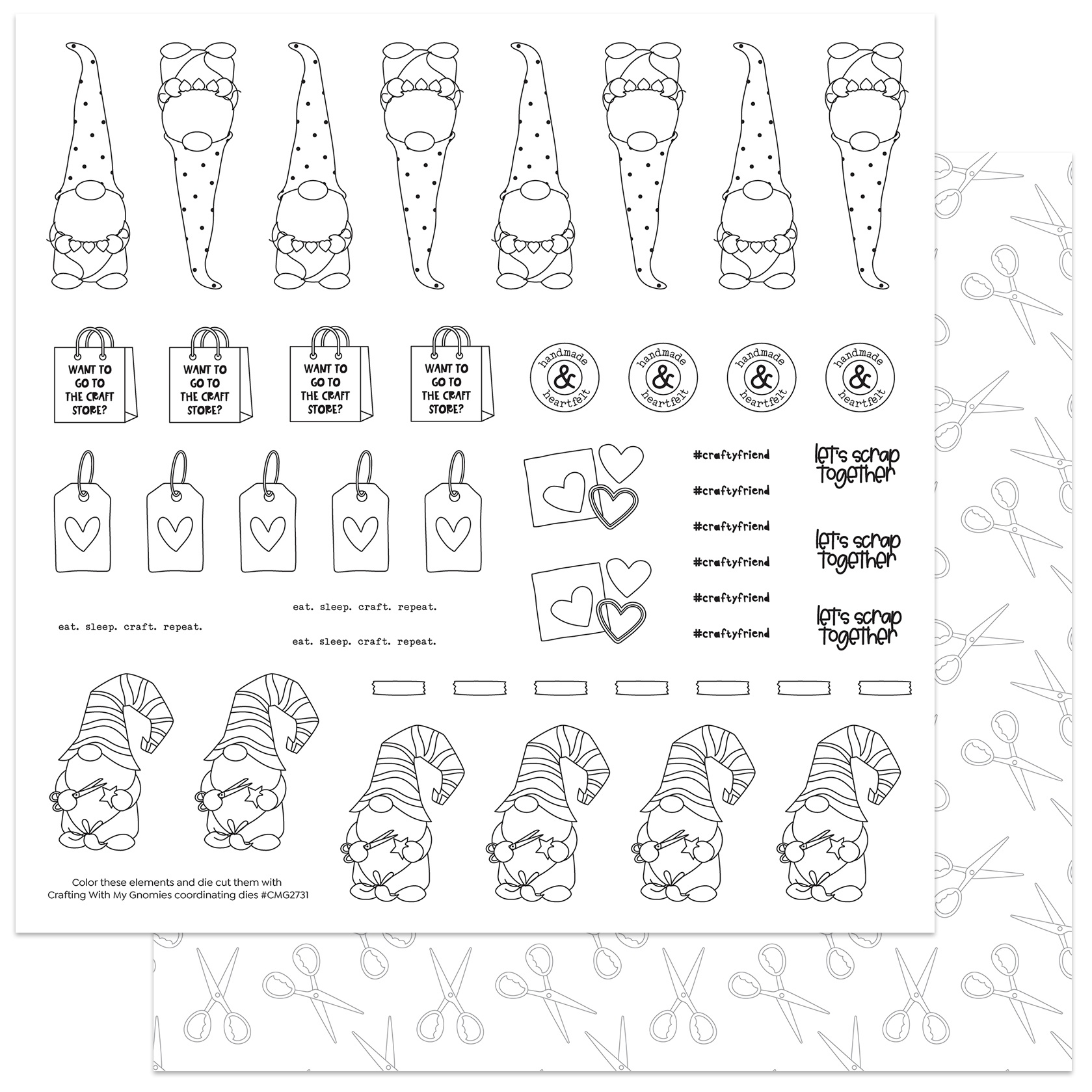 Crafting With My Gnomies- Color Me Sheet For Dies