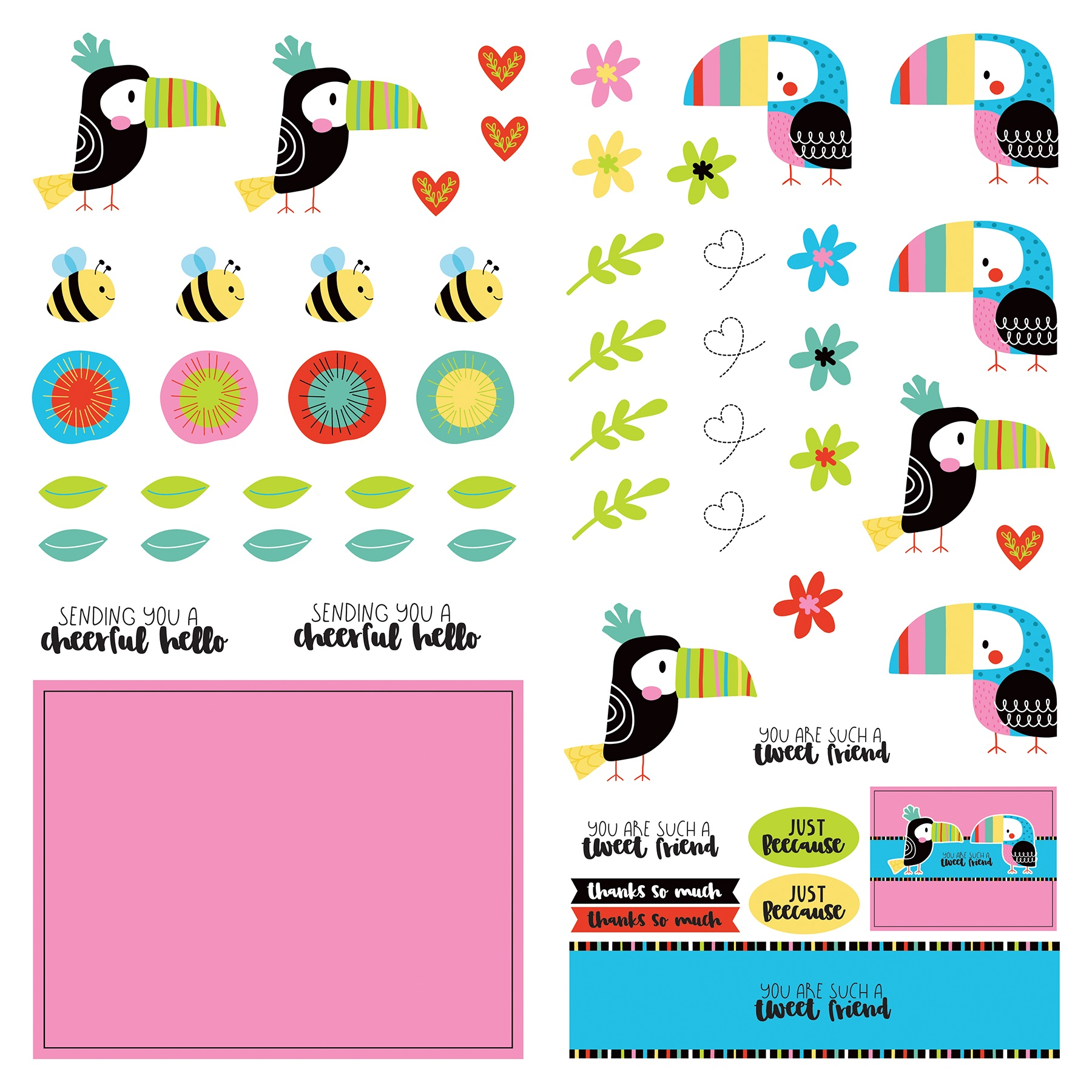 Birds Of A Feather Cardstock Die-Cut Sheet 12X12-Birds Of A Feather
