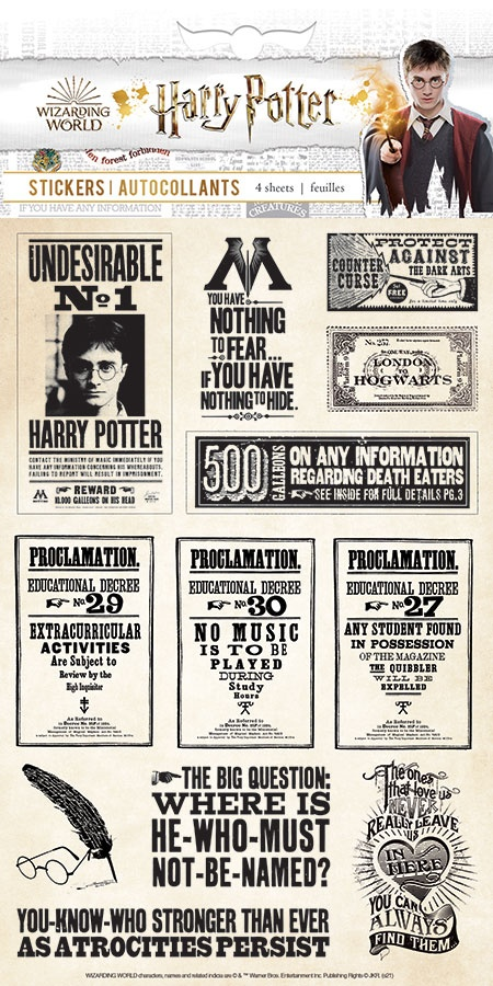 Paper House Harry Potter Stickers 4/Sht-Papers & Proclamations