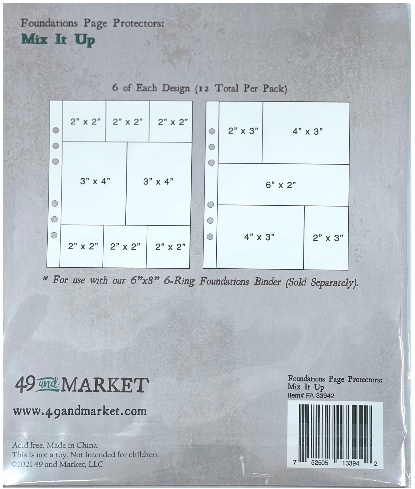49 And Market Foundations Page Protectors 6X8 12/Pkg Mix It Up