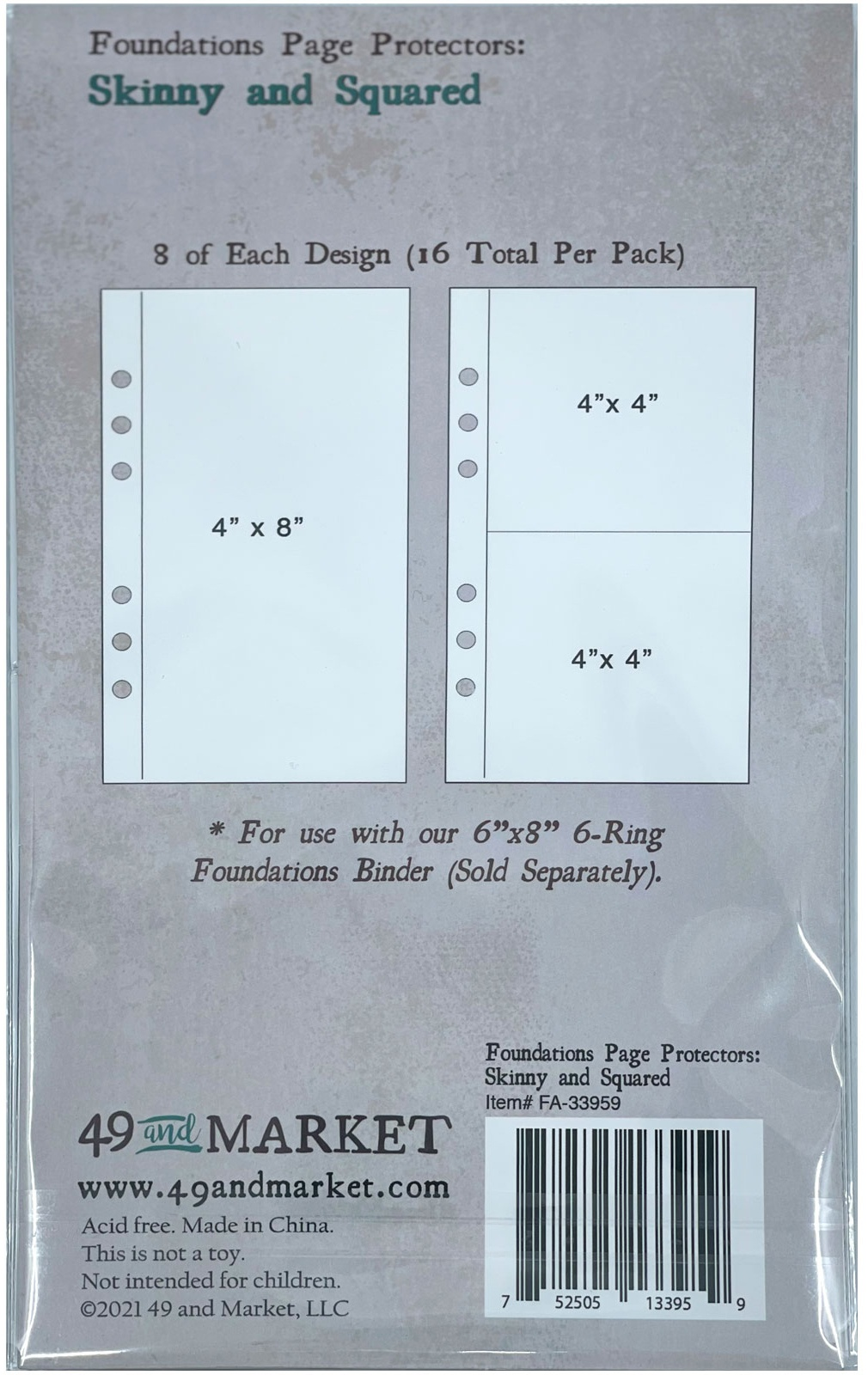 49 And Market Foundations Page Protectors 4X8 16/Pkg-Skinny & Squared