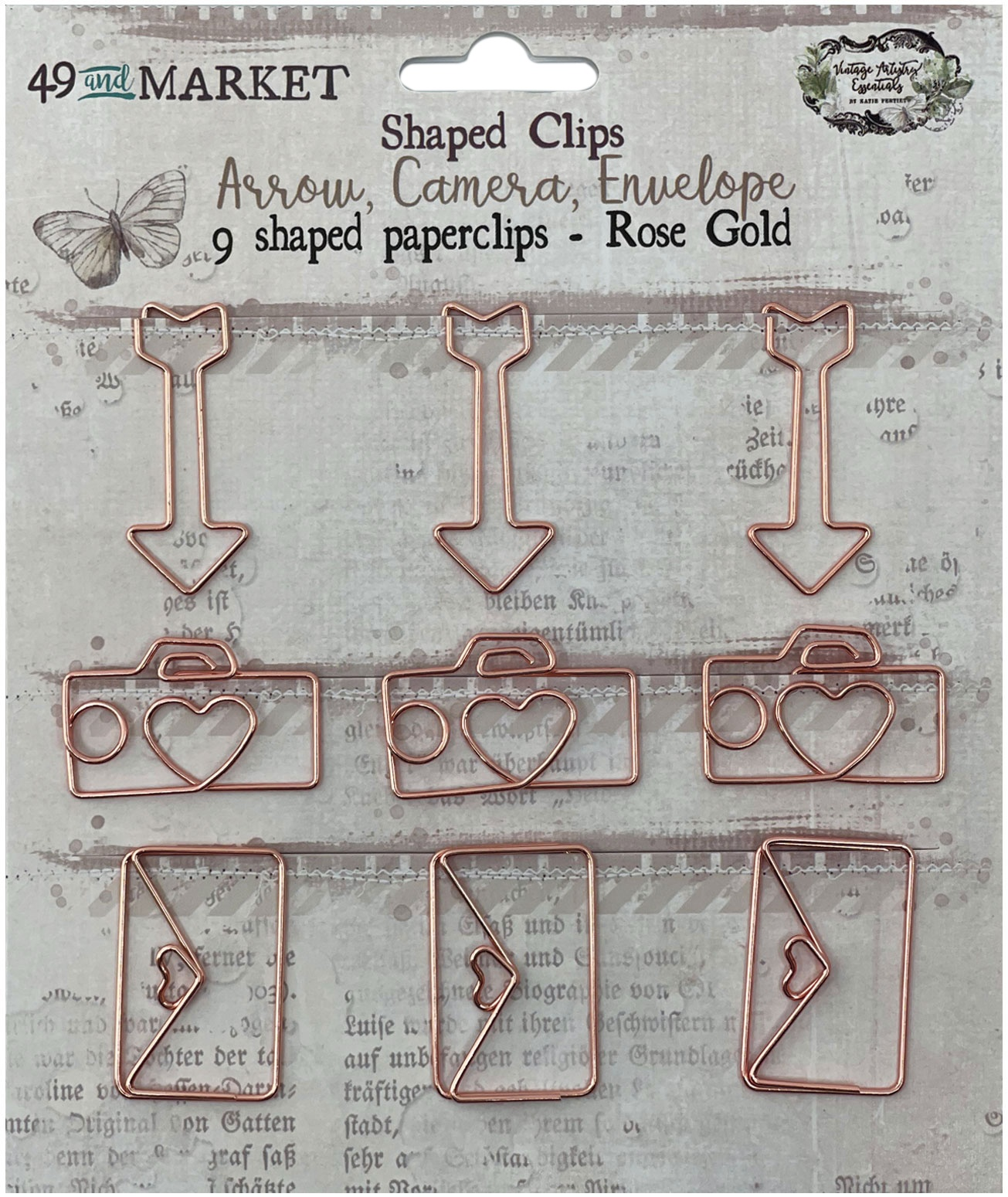 49 And Market Foundations Paper Clips 9/Pkg-Arrow, Camera, Envelope In Rose Gold