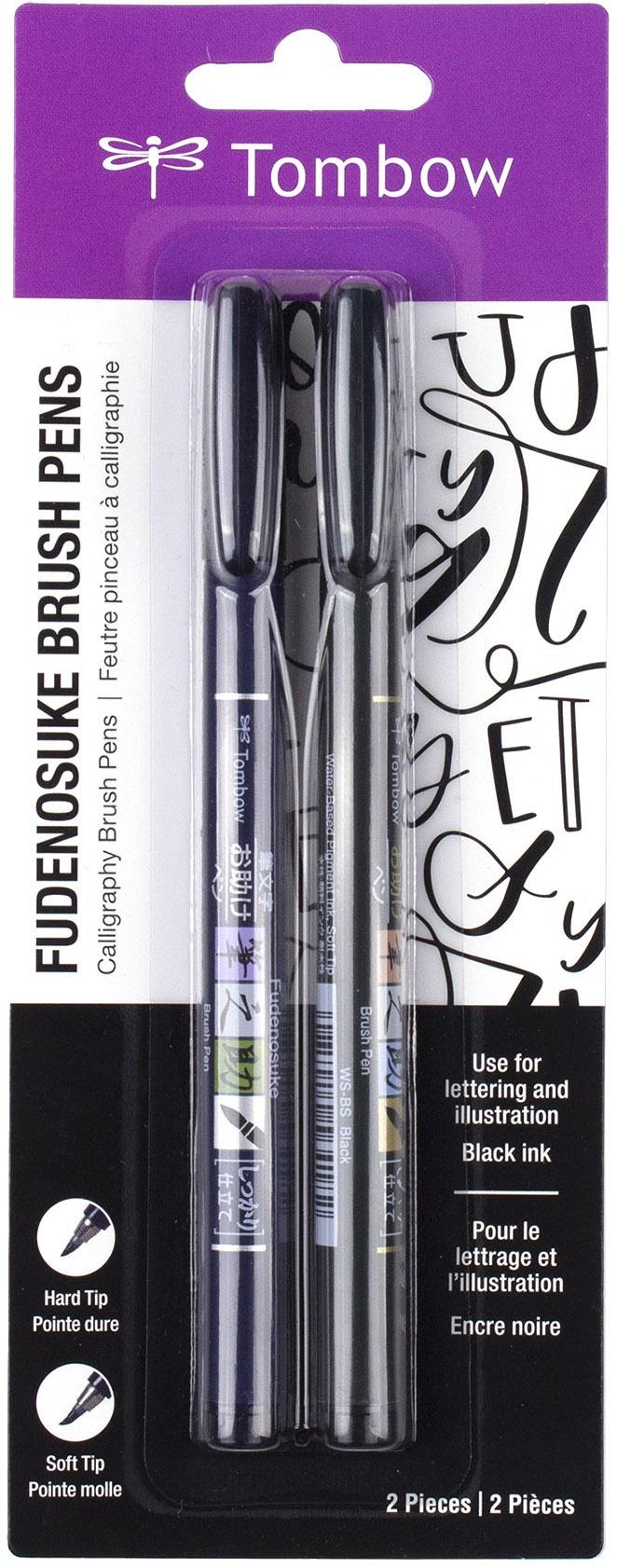 Tombow Fudenosuke Brush Pens 2/Pkg-Black