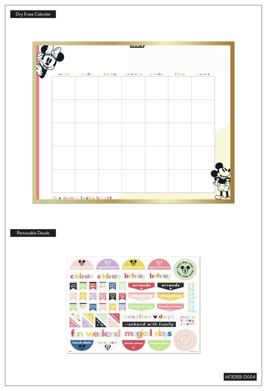 Happy Planner Disney Monthly Dry Erase Board 20X16-Colorblock Mickey & Minnie