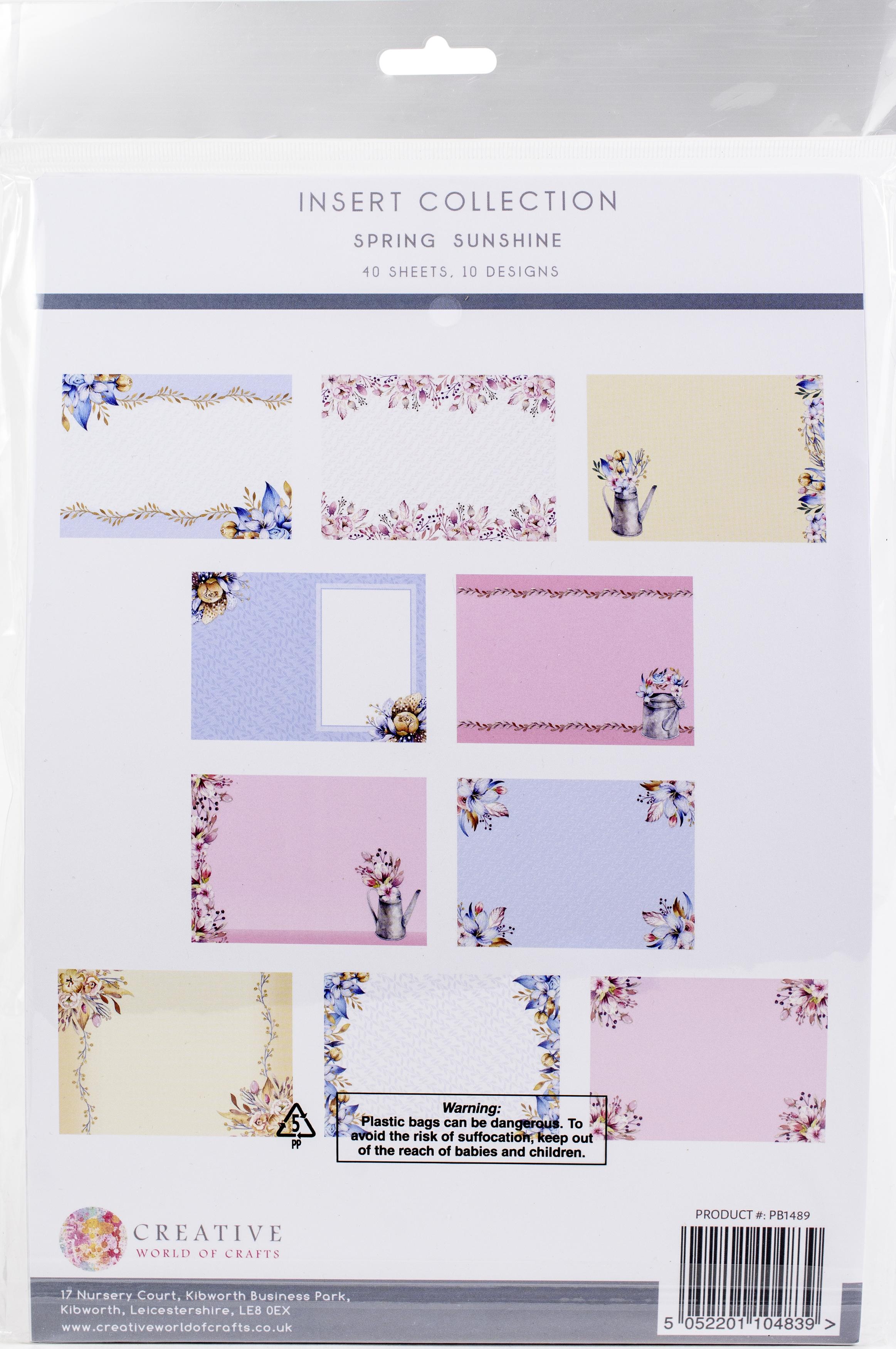The Paper Boutique Insert Collection A4 40/Pkg-Spring Sunshine, 10 Designs