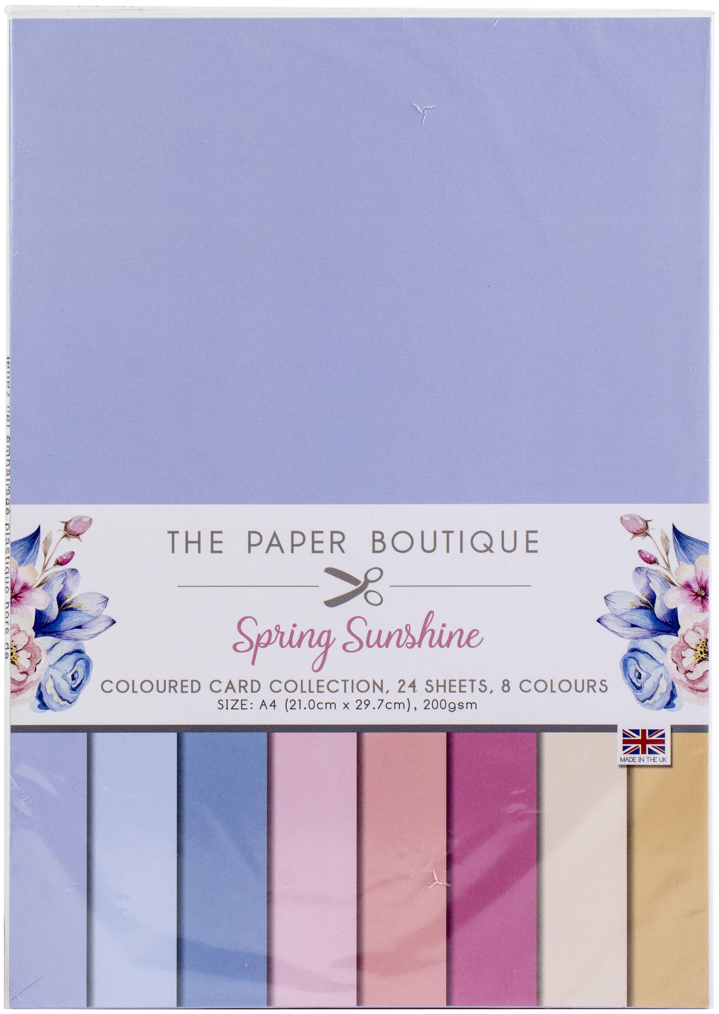The Paper Boutique Color Card Collection A4 24/Pkg-Spring Sunshine, 8 Colors