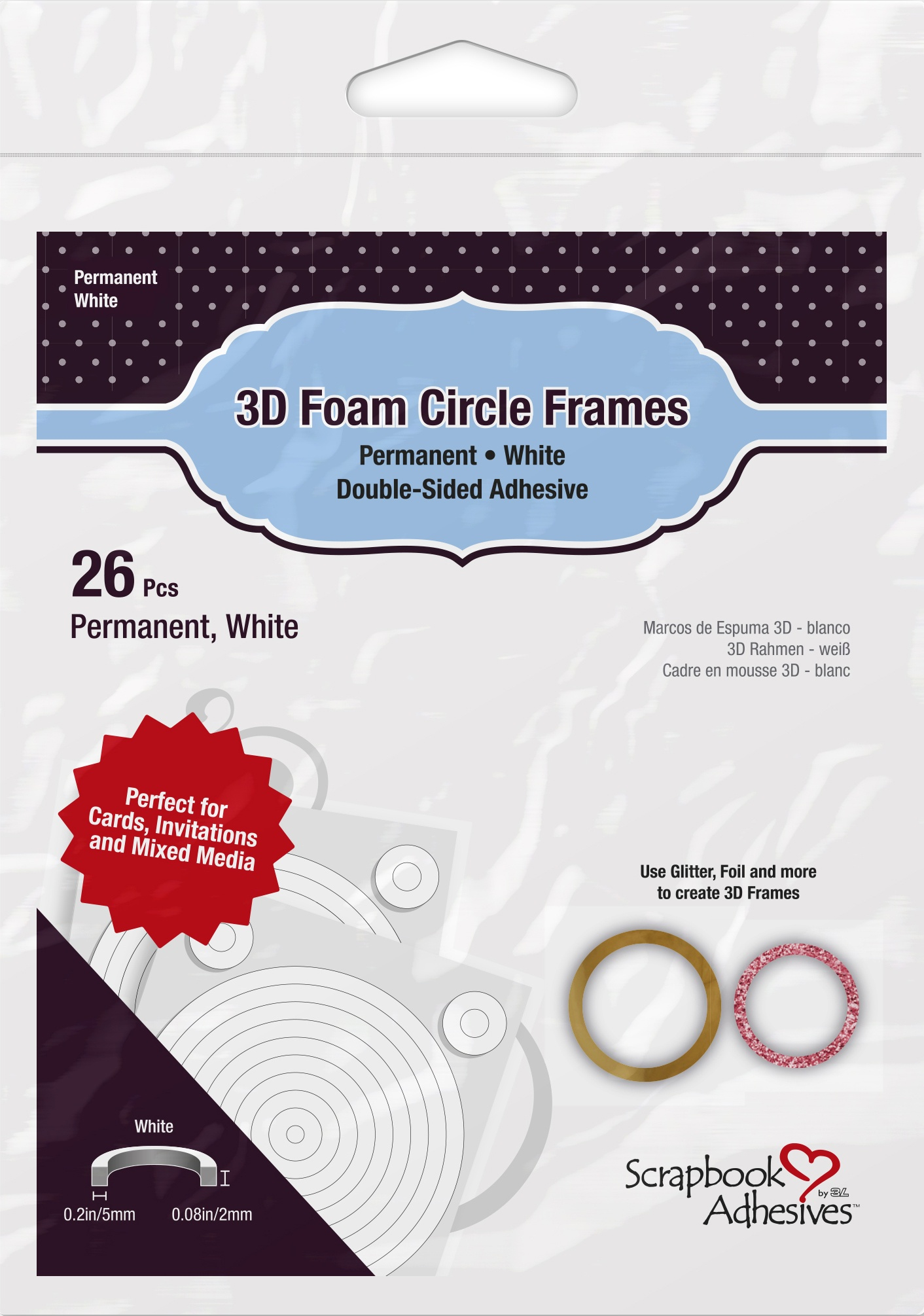 Scrapbook Adhesives 3D Foam Circle Frames 26/Pkg-Permanent, White, .08