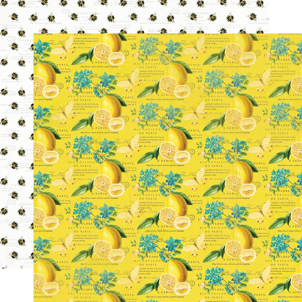 Simple Vintage Lemon Twist - SQUEEZE THE DAY - 12x12 Double-Sided Paper