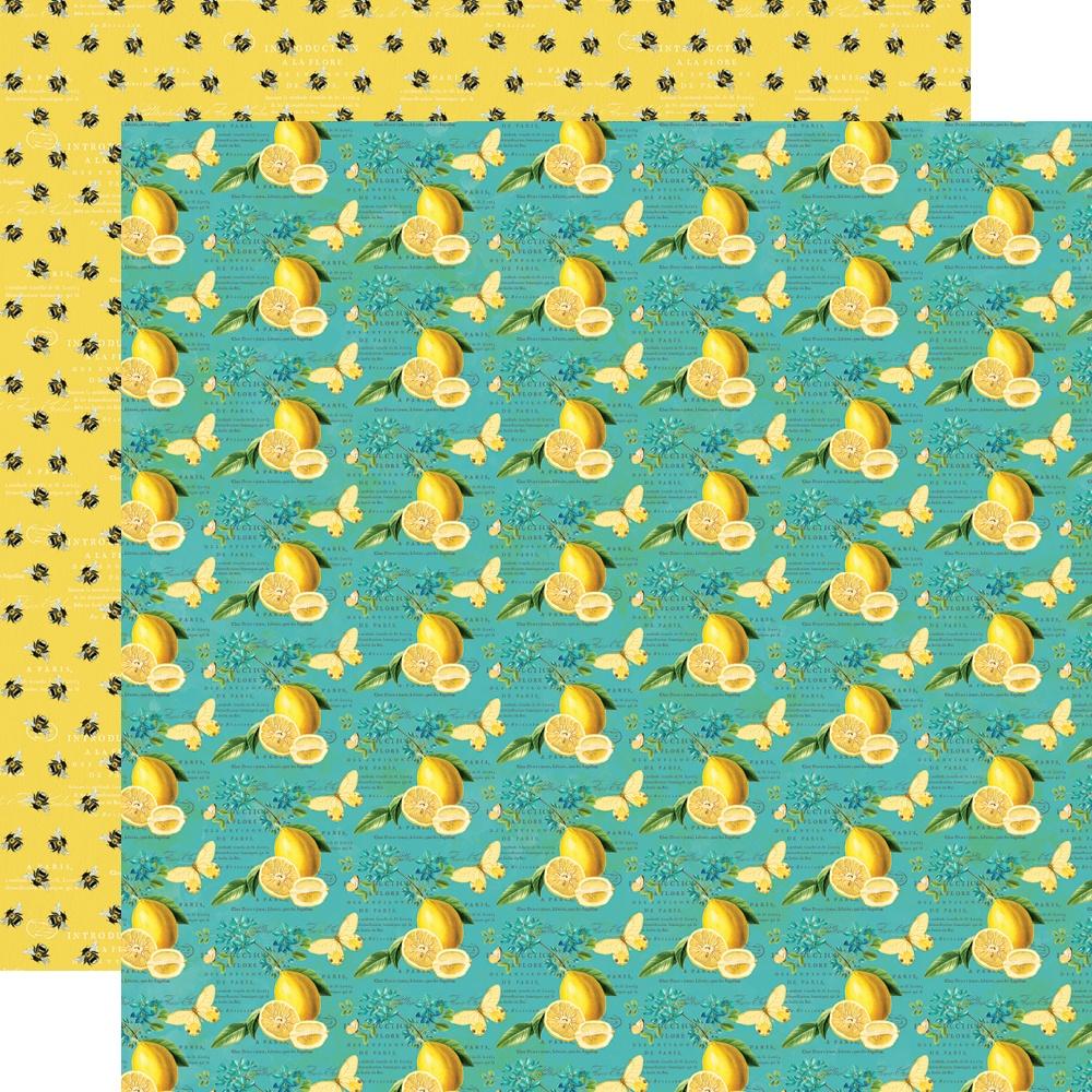 Simple Vintage Lemon Twist - BEE HAPPY - 12x12 Double-Sided Paper