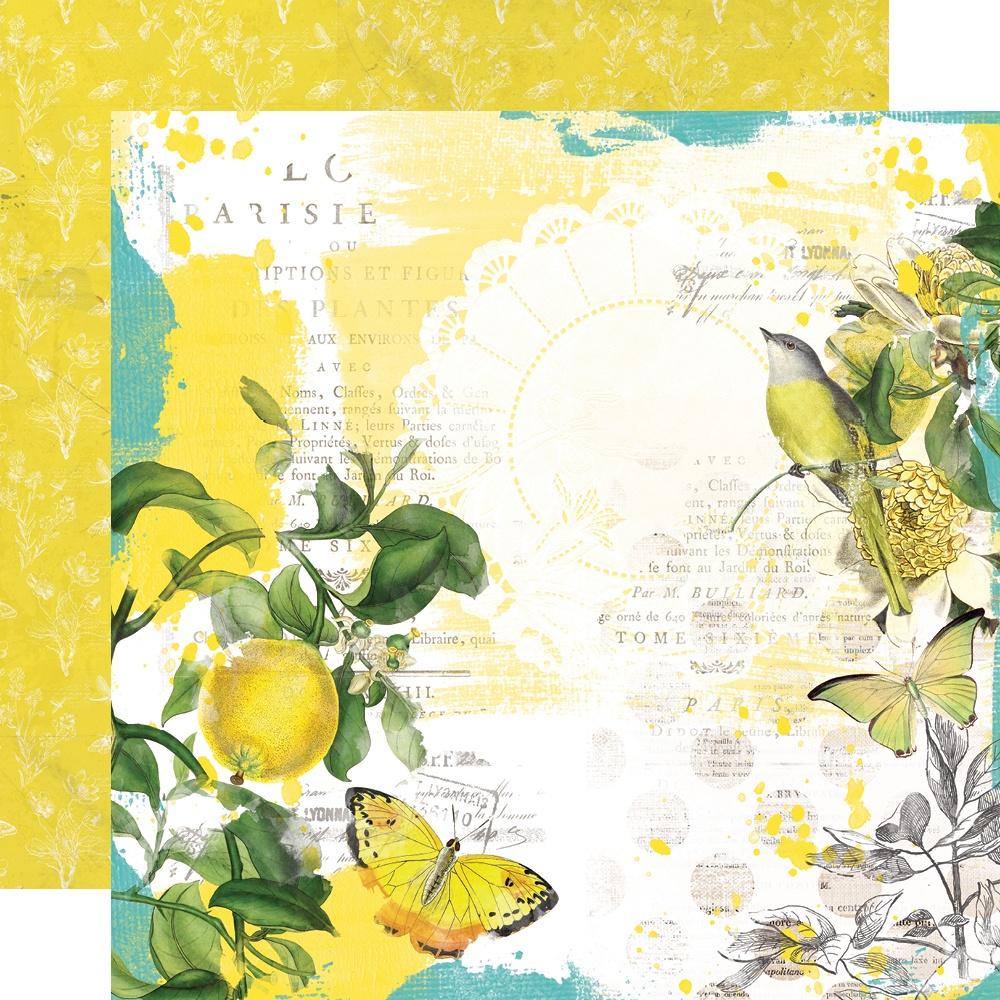 Simple Vintage Lemon Twist - SUNSHINE + LEMONADE - 12x12 Double-Sided Paper