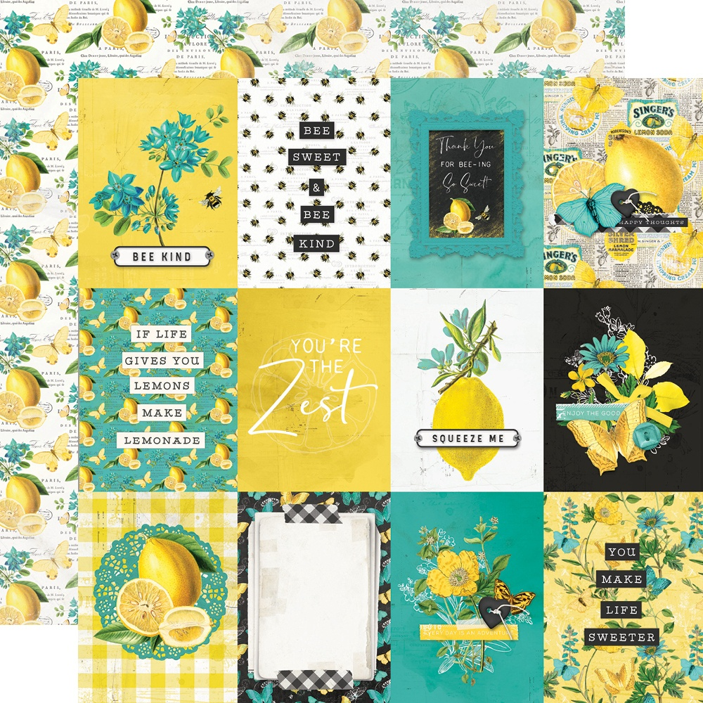 Simple Vintage Lemon Twist - 3x4 ELEMENTS - 12x12 Double-Sided Paper