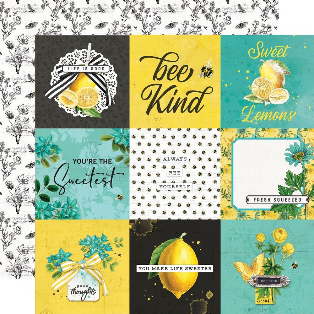 Simple Vintage Lemon Twist - 4x4 ELEMENTS - 12x12 Double-Sided Paper