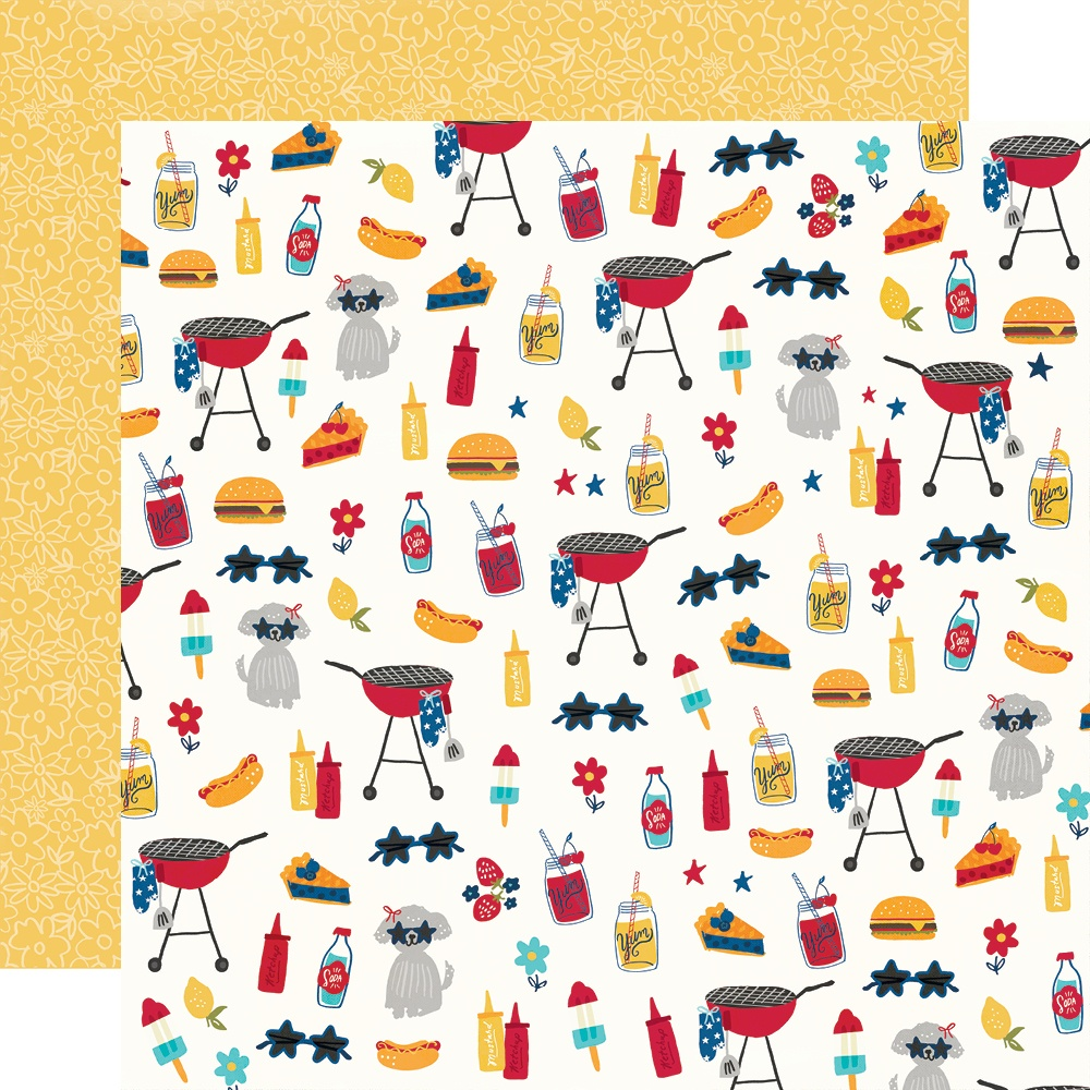 Simple Stories - Stars, Stripes + Sparklers Double-Sided Cardstock - Red, White & BBQ 12x12