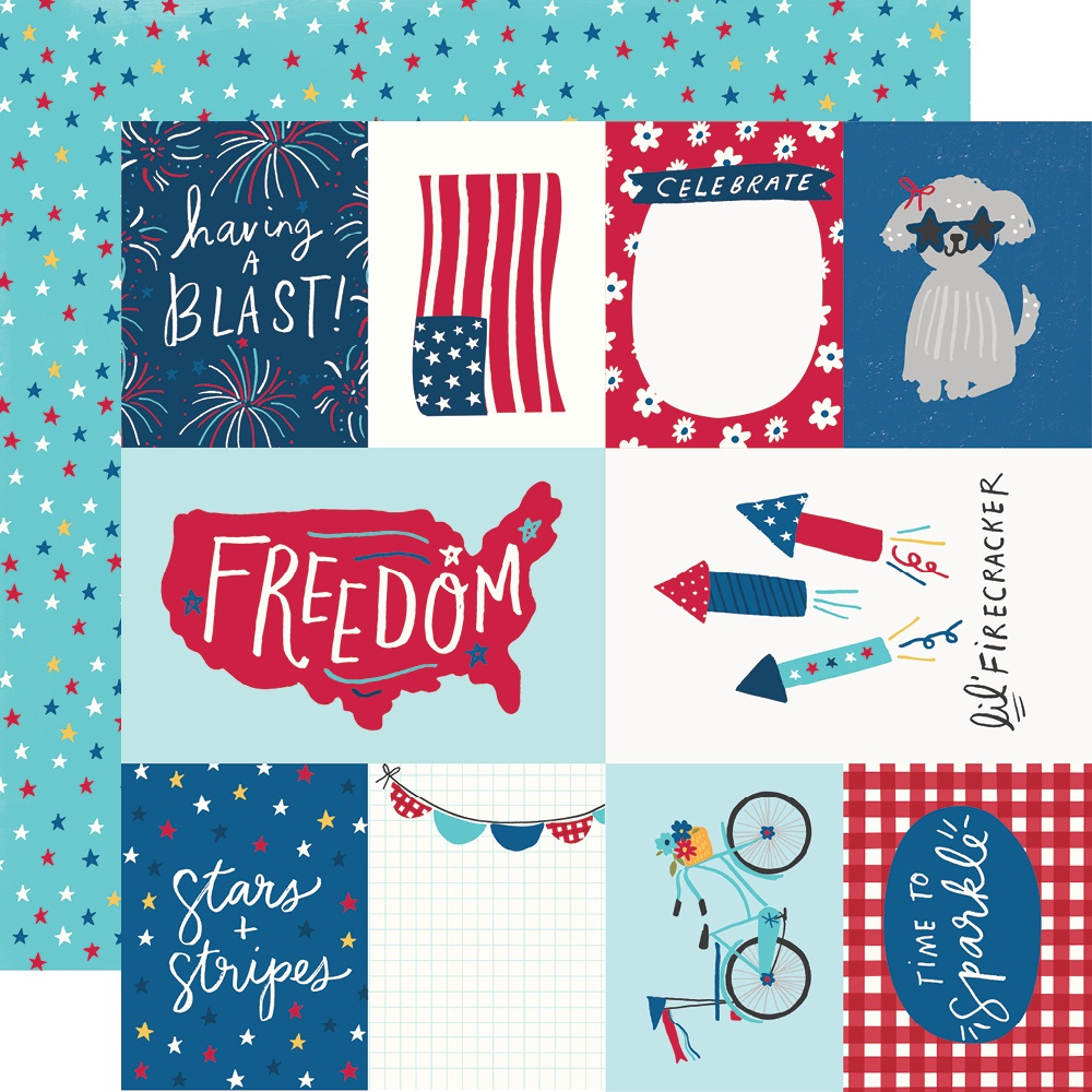 Simple Stories - Stars, Stripes + Sparklers Double-Sided Cardstock - Elements & Stars 12x12