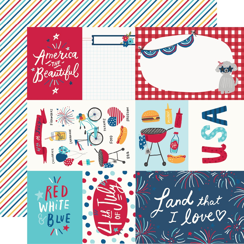 COLLECTION: Stars, Stripes + Sparklers Double-Sided Cardstock 12X12
