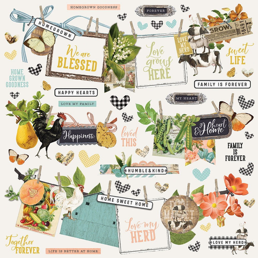 Simple Vintage Farmhouse Garden Cardstock Stickers 12X12-Banners