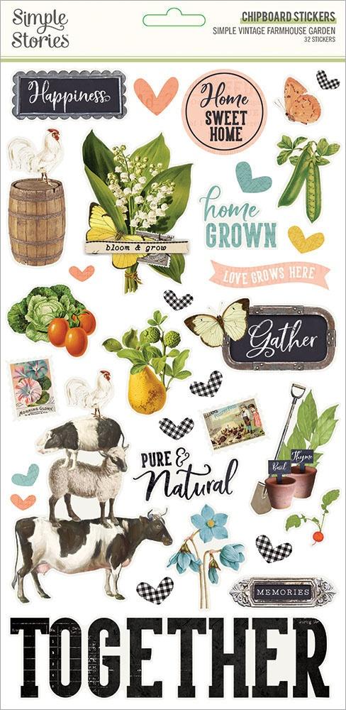Simple Vintage Farmhouse Garden Chipboard Stickers 6X12-