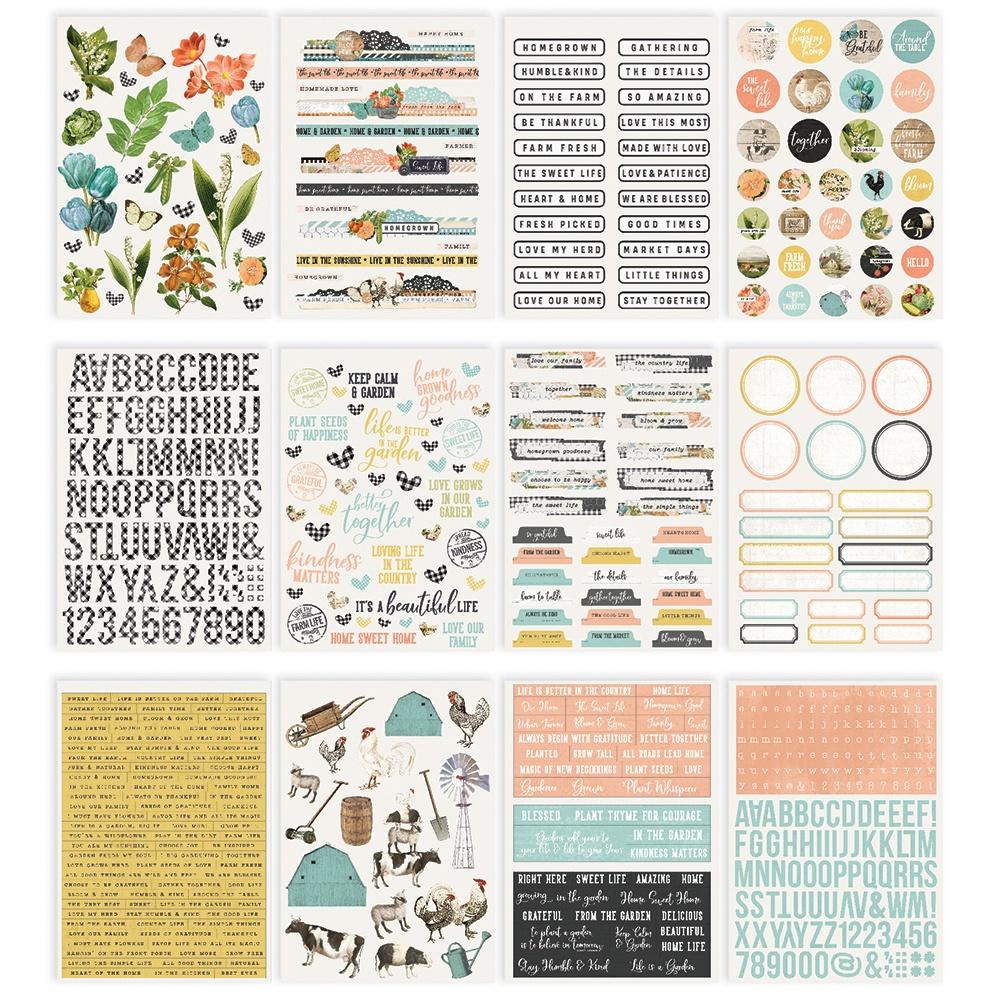Simple Stories Sticker Book 12/Sheets-Simple Vintage Farmhouse Garden, 632/Pkg