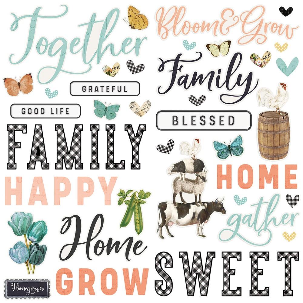 Simple Vintage Farmhouse Garden Foam Stickers 56/Pkg-