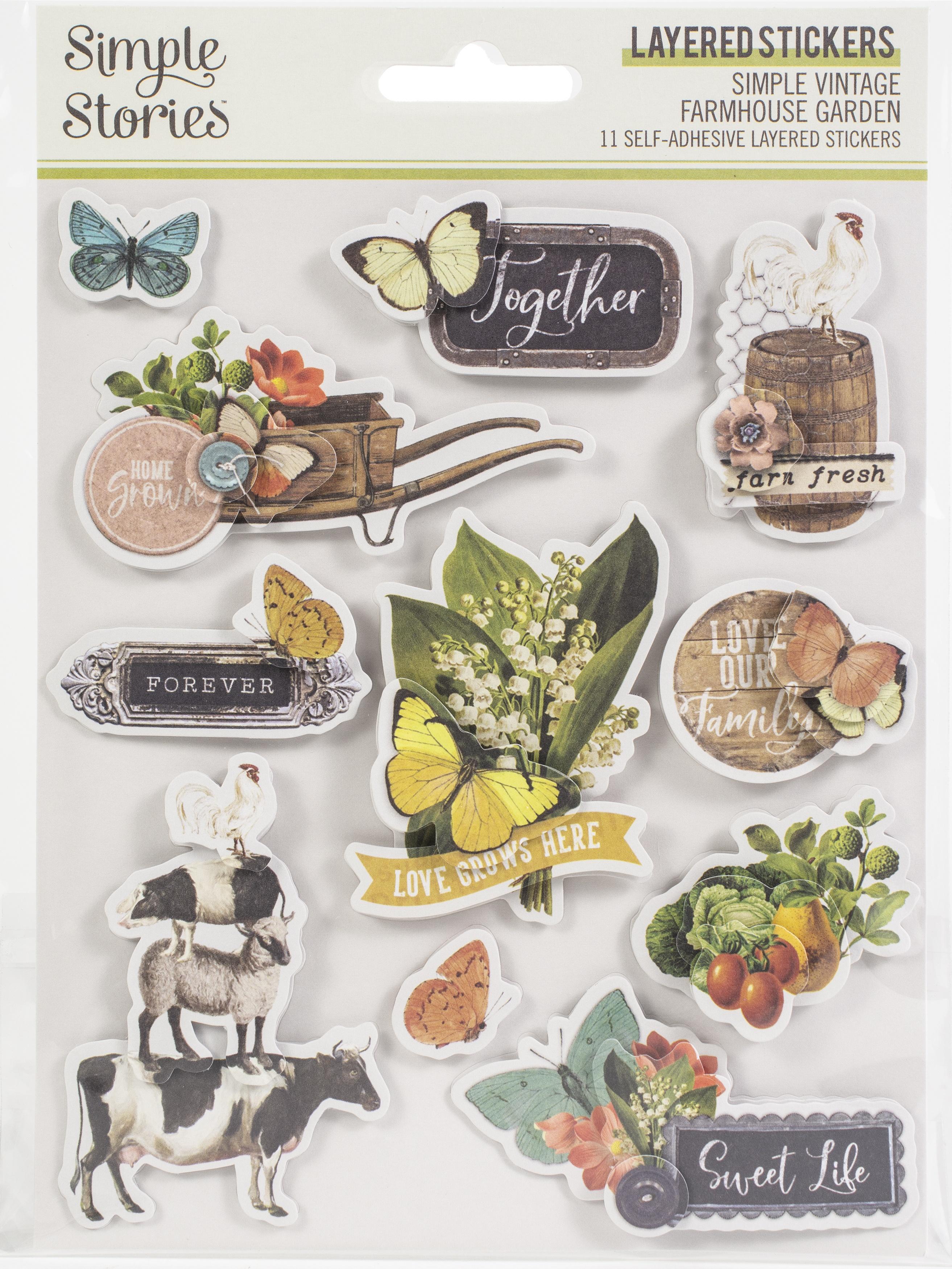 Simple Vintage Farmhouse Garden Layered Stickers 11/Pkg-