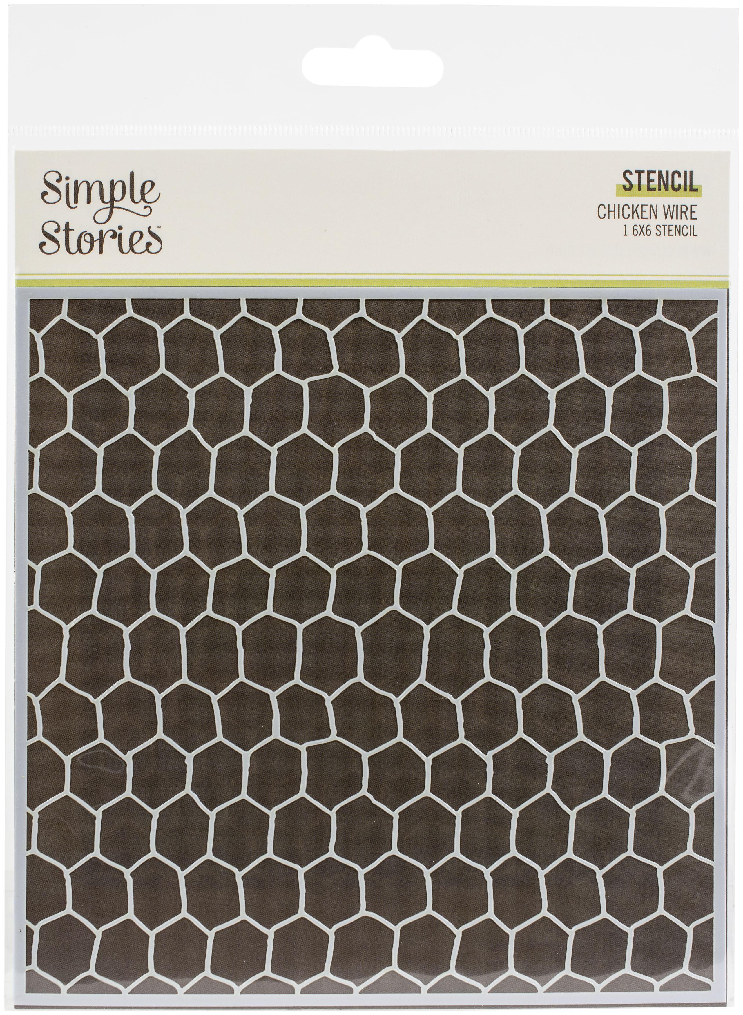 Simple Stories Simple Vintage Farmhouse Garden Stencil 6X6-Chicken Wire