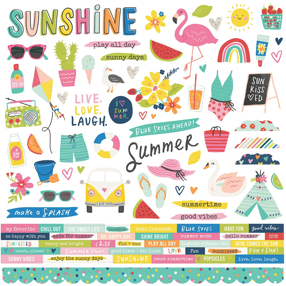 Sunkissed Cardstock Stickers 12X12-Combo