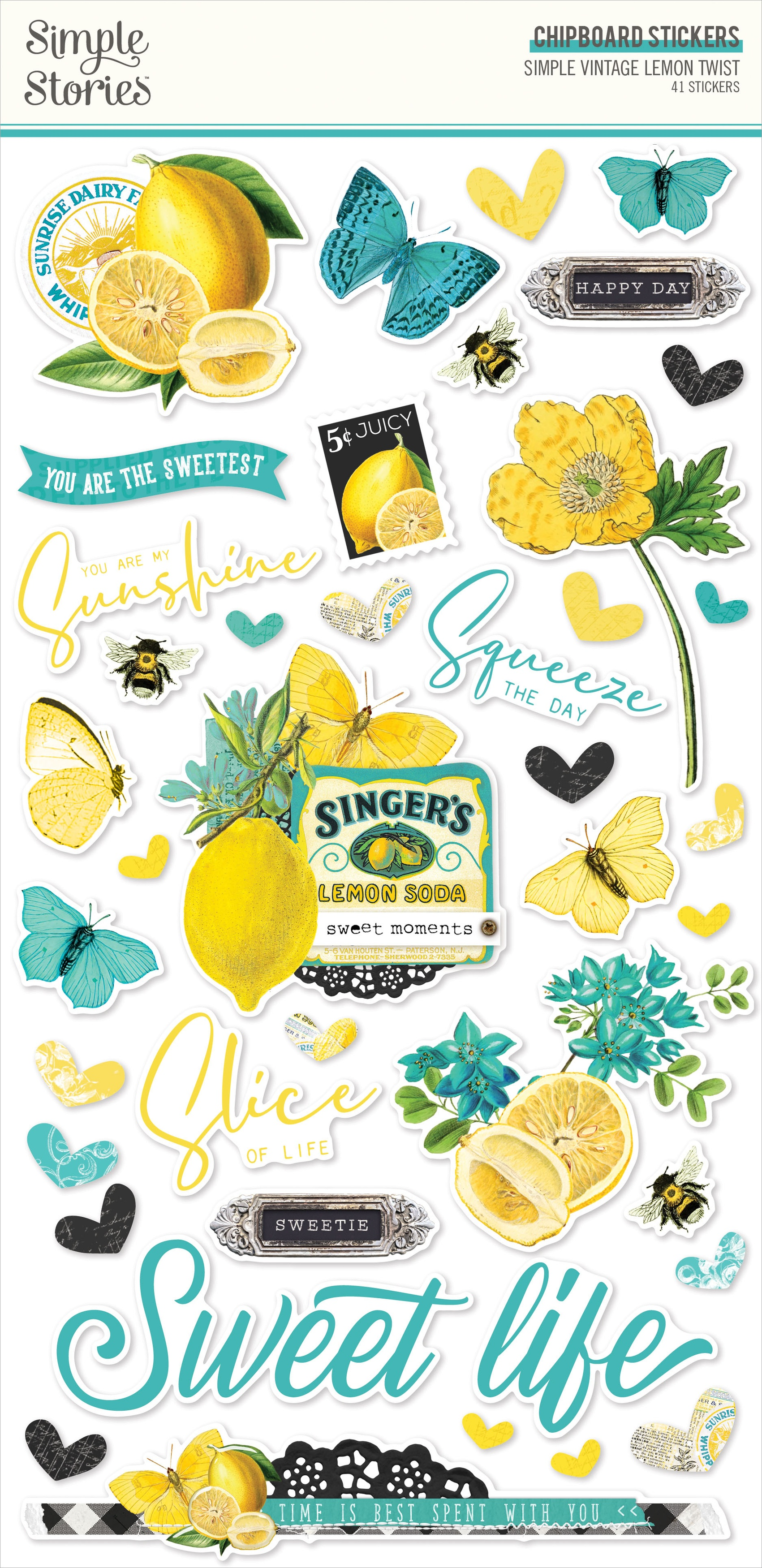 Simple Vintage Lemon Twist Chipboard Stickers 6X12-