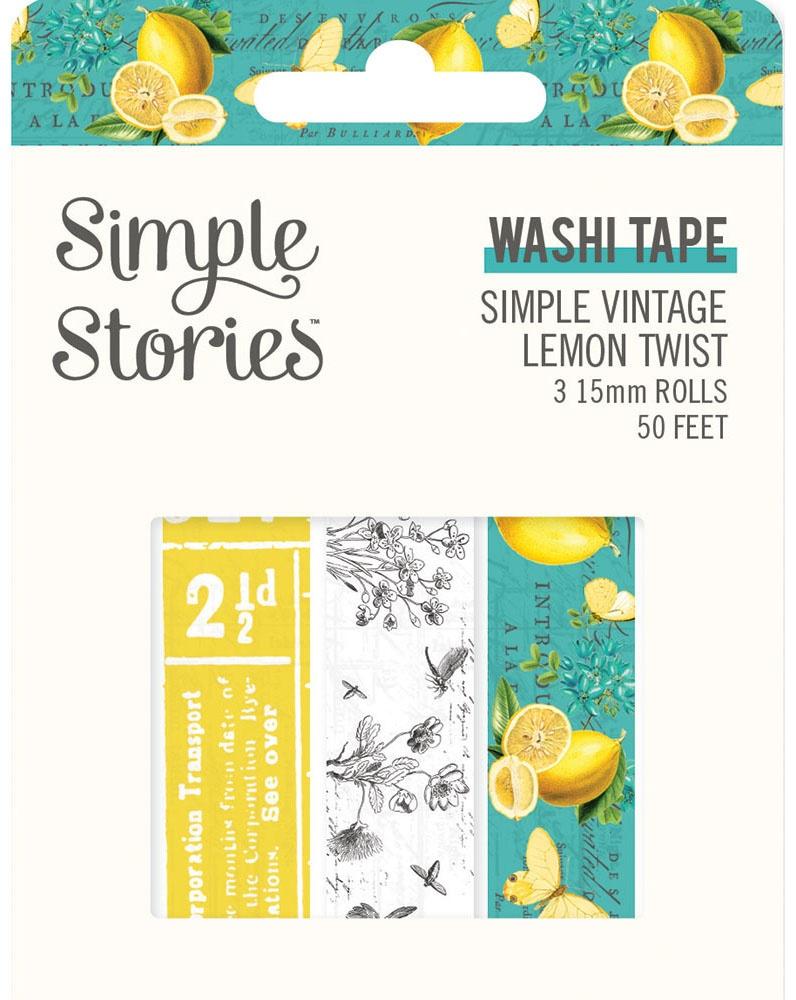 Simple Stories Simple Vintage Lemon Twist Washi Tape 3/Pkg-