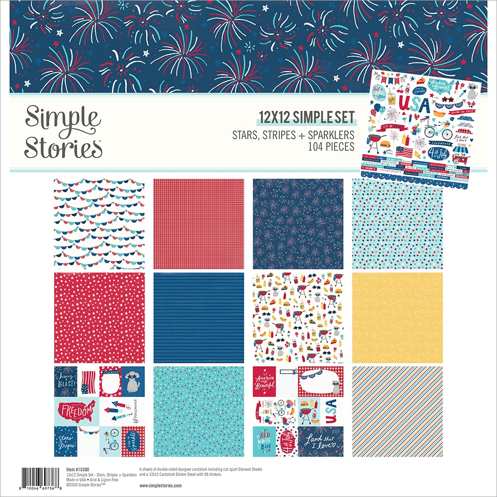 Simple Stories Collection Kit 12X12-Stars, Stripes + Sparklers