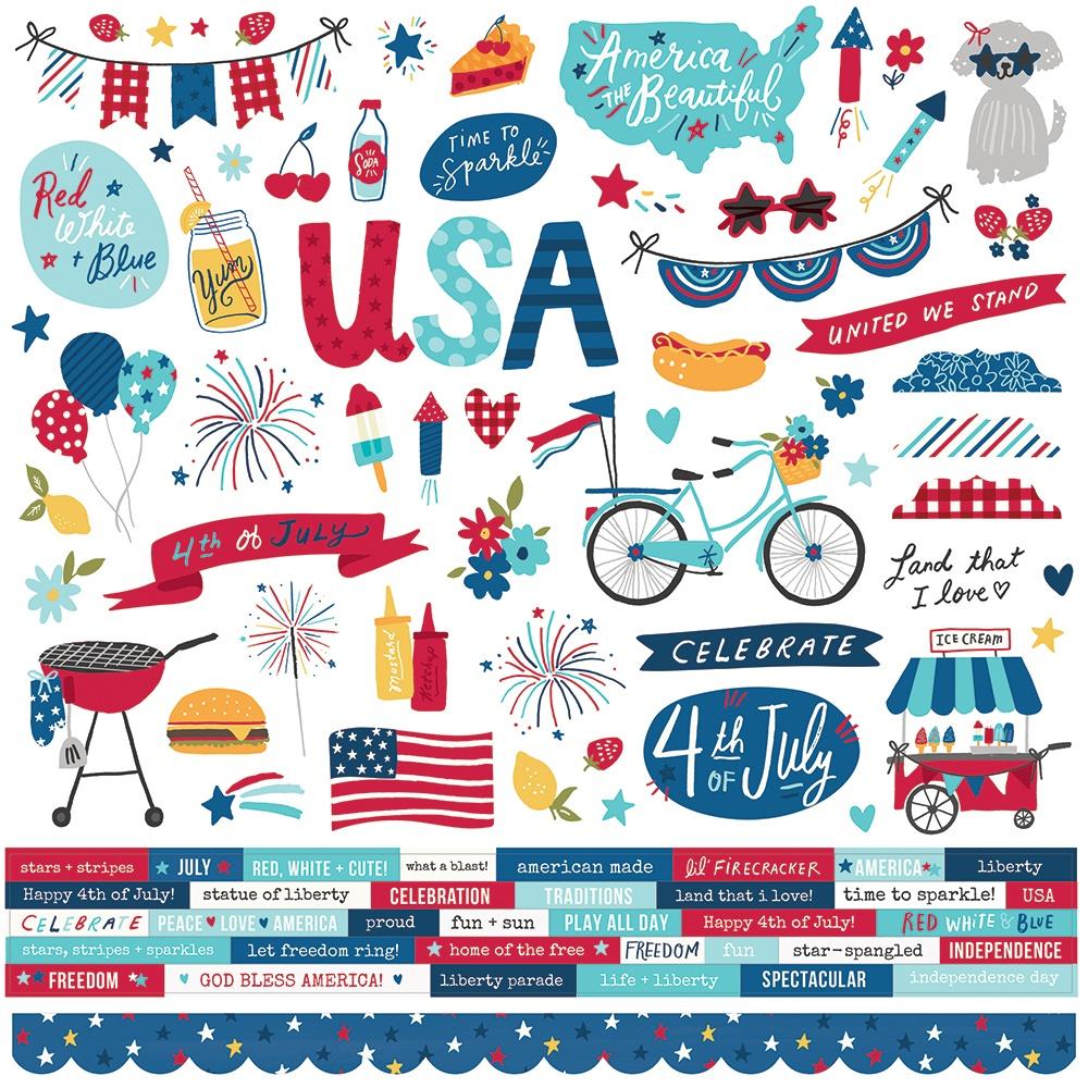 Stars, Stripes + Sparklers Cardstock Stickers 12X12-Combo