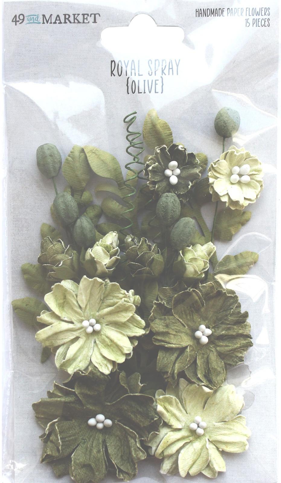 49 And Market Royal Spray Paper Flowers 15/Pkg-Olive