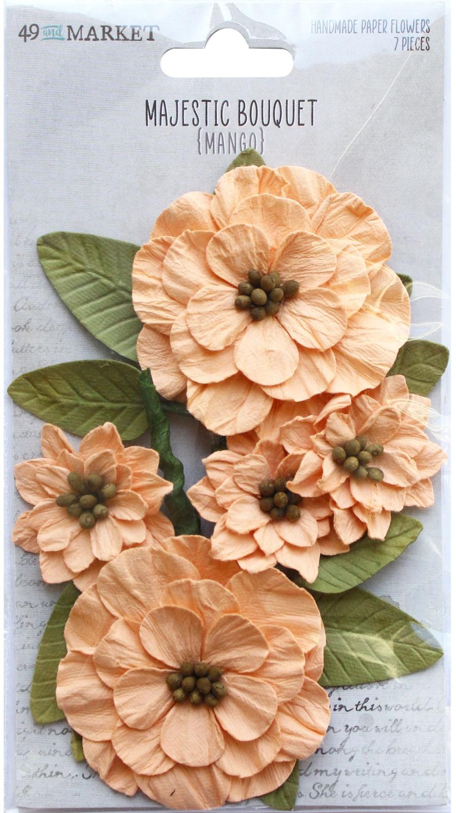49 And Market Majestic Bouquet Paper Flowers 7/Pkg-Mango