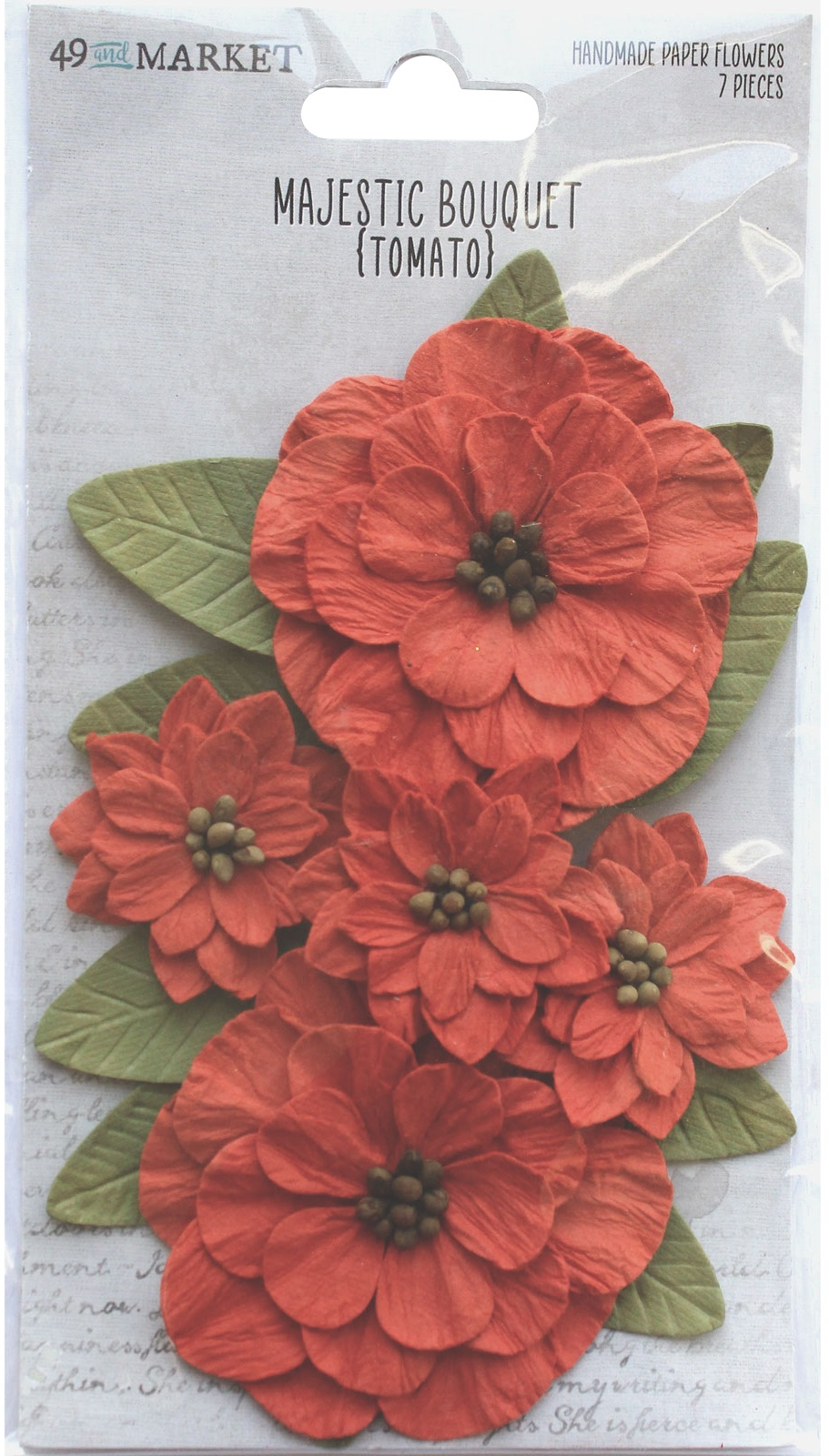49 And Market Majestic Bouquet Paper Flowers - Tomato