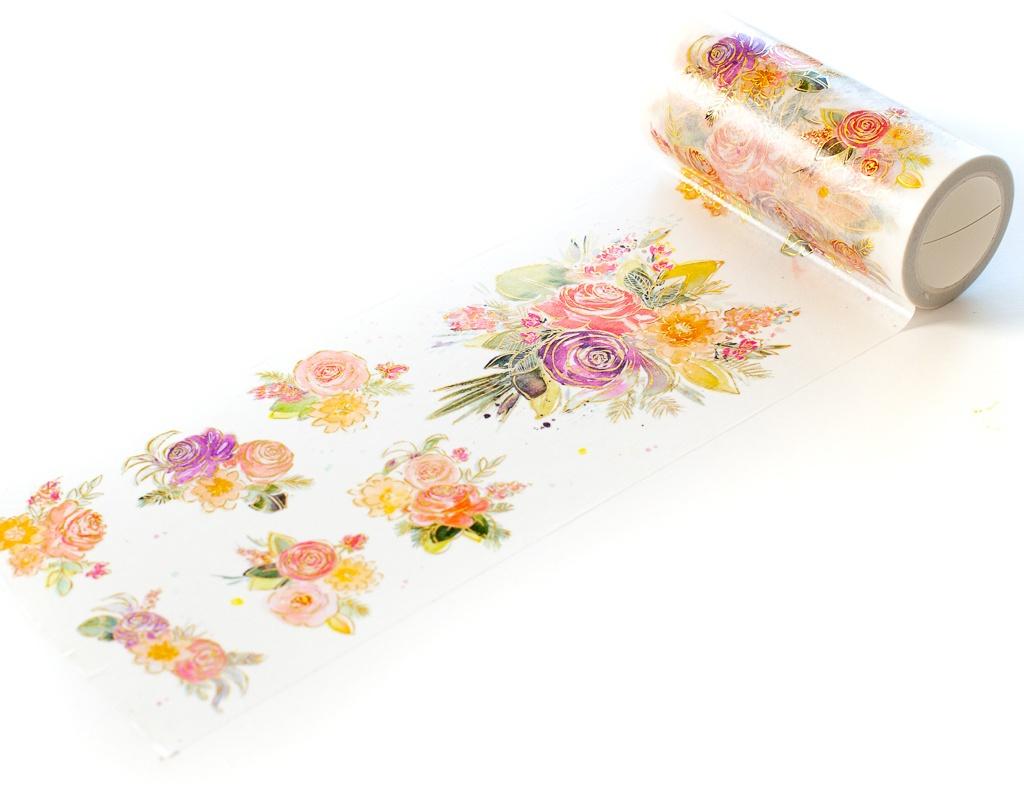 Pinkfresh Studio Washi Tape 4X11yd-Joyful Bouquet W/Foiled Accents