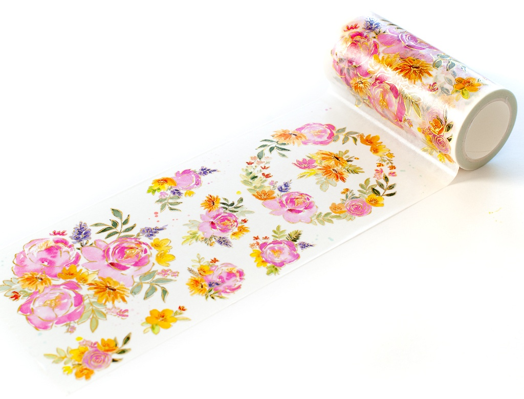 Pinkfresh Studio Washi Tape 4X11yd-Painted Peony Mix W/Foiled Accents