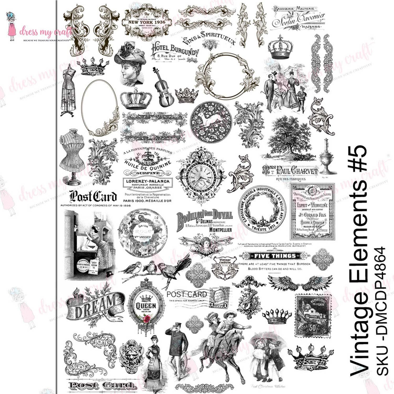 Dress My Craft Transfer Me Sheet A4-Vintage Elements #5